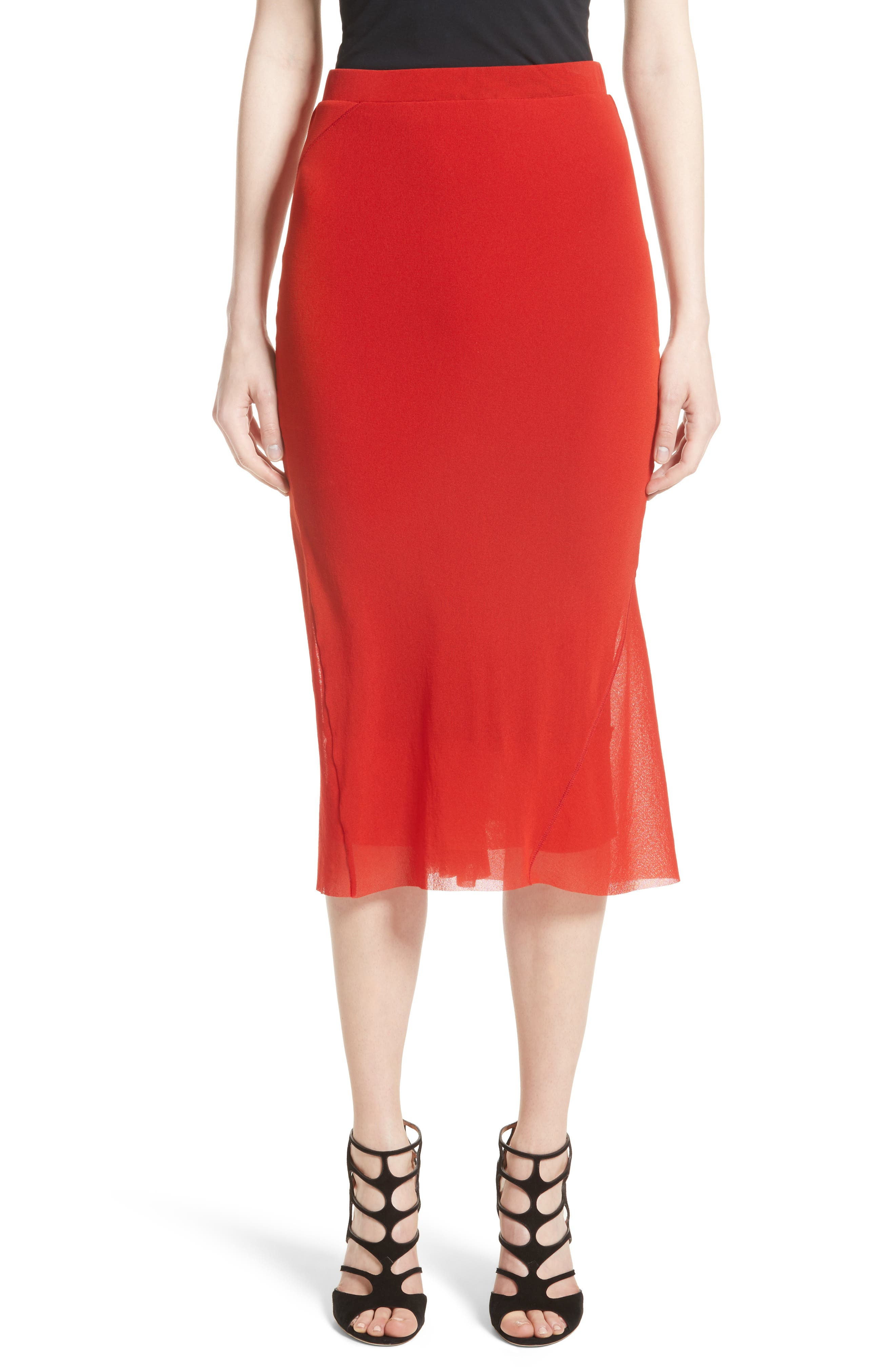 Tulle Midi Skirt,                         Main,                         color, Solid Red