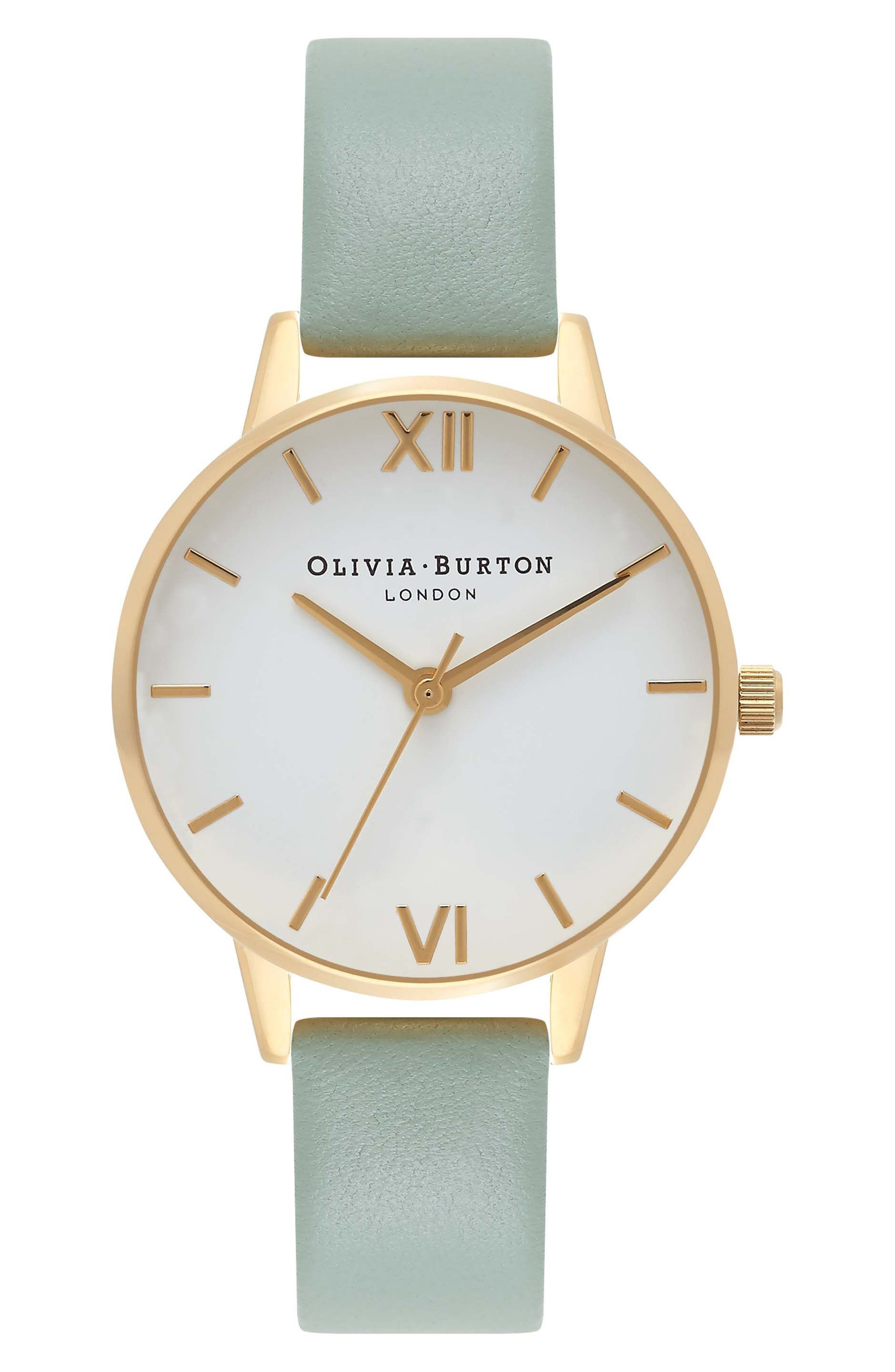 Midi Dial Leather Strap Watch, 30mm,                             Main thumbnail 1, color,                             Mint/ White/ Gold