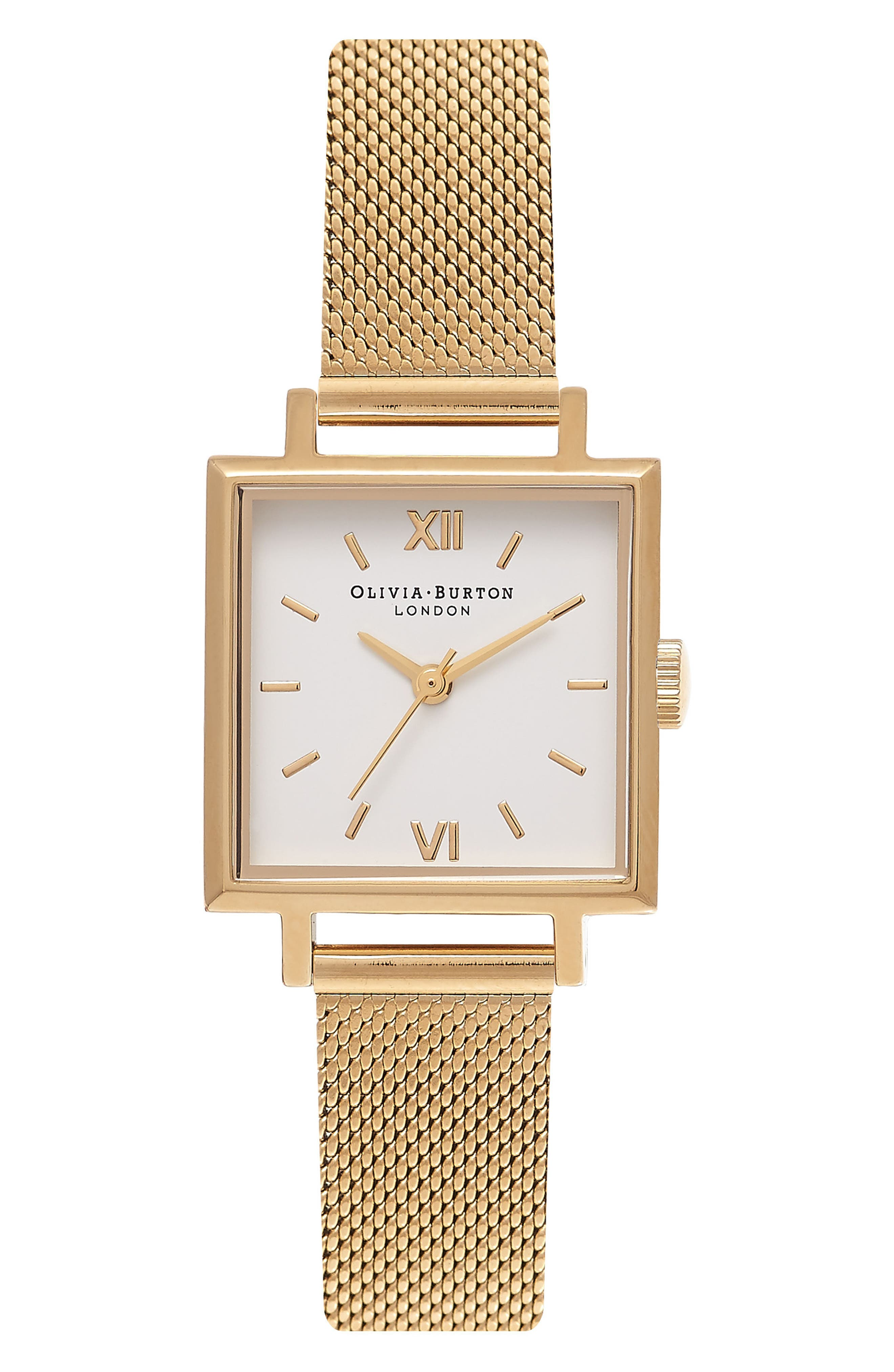 Midi Square Mesh Strap Watch, 22.5mm,                             Main thumbnail 1, color,                             Gold/ White/ Gold