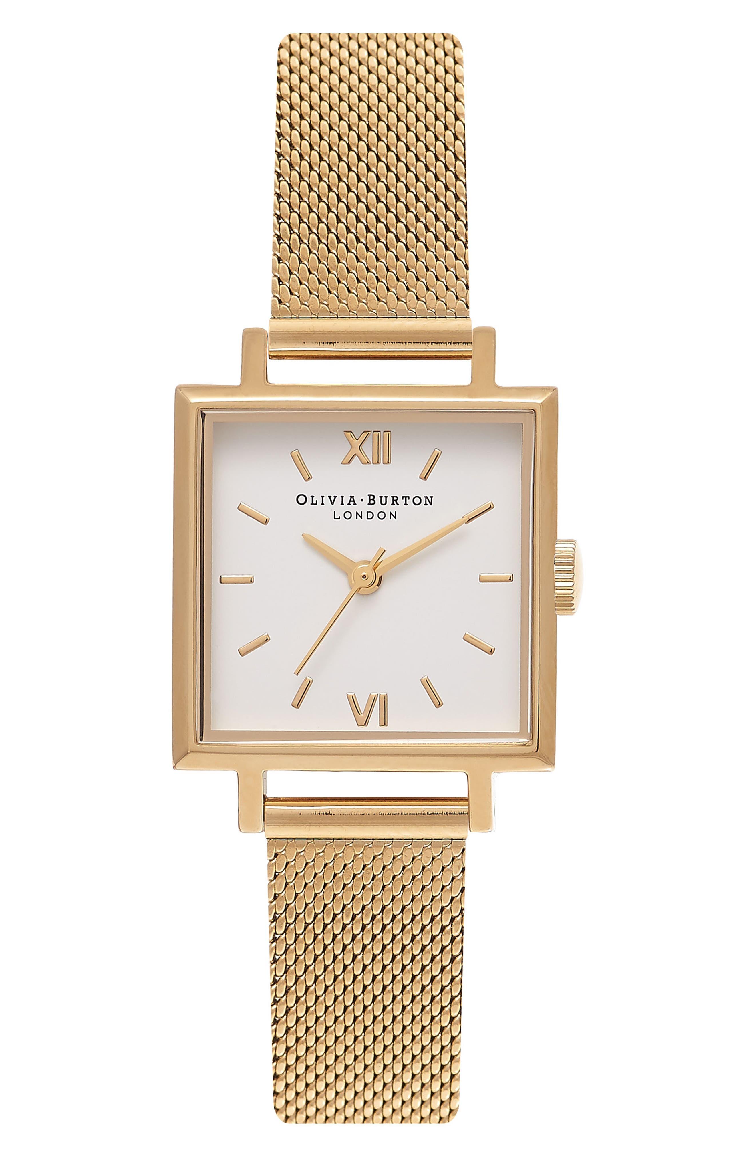 Midi Square Mesh Strap Watch, 22.5mm,                         Main,                         color, Gold/ White/ Gold