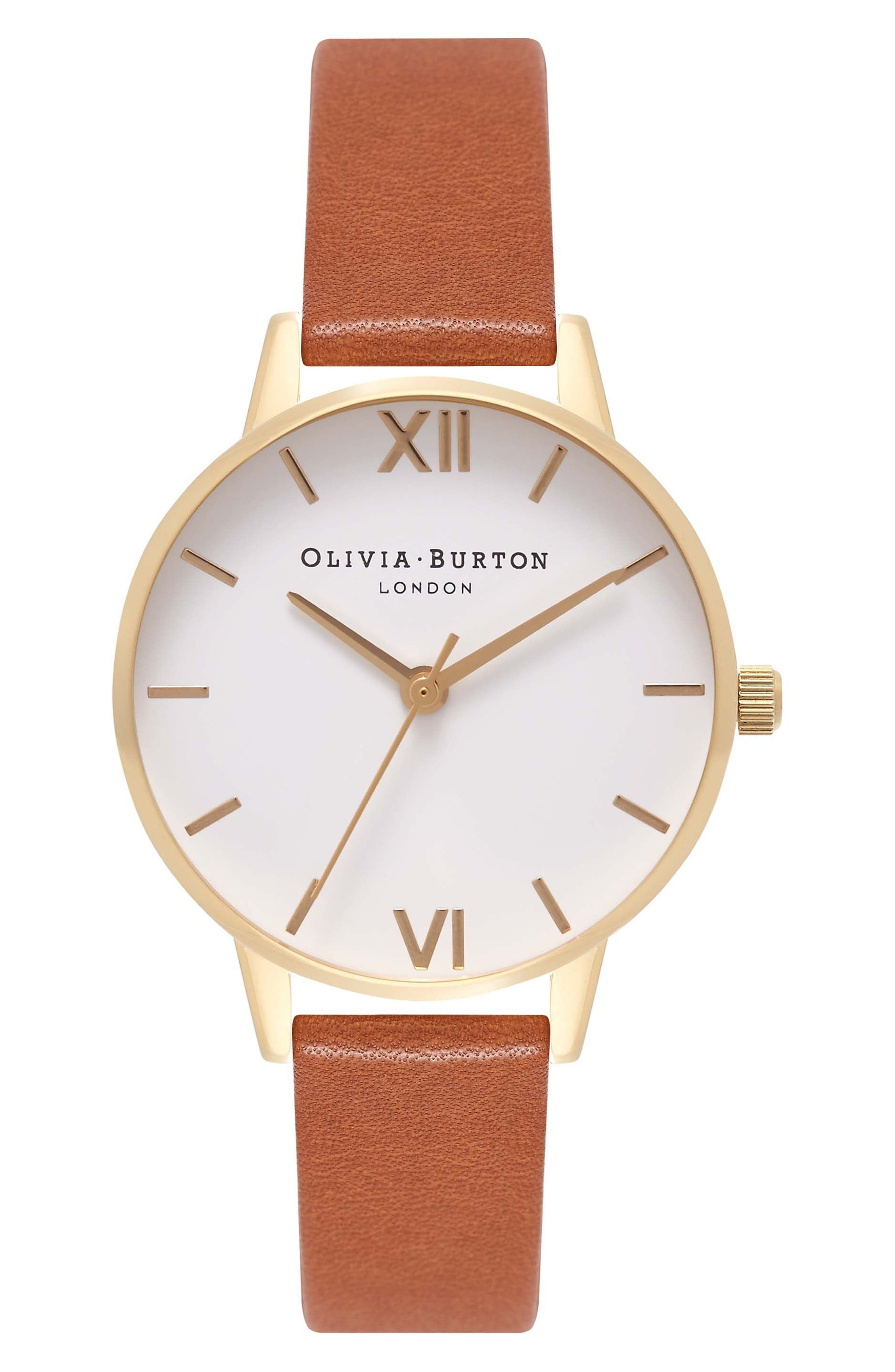 Midi Dial Leather Strap Watch, 30mm,                         Main,                         color, Tan/ White/ Gold