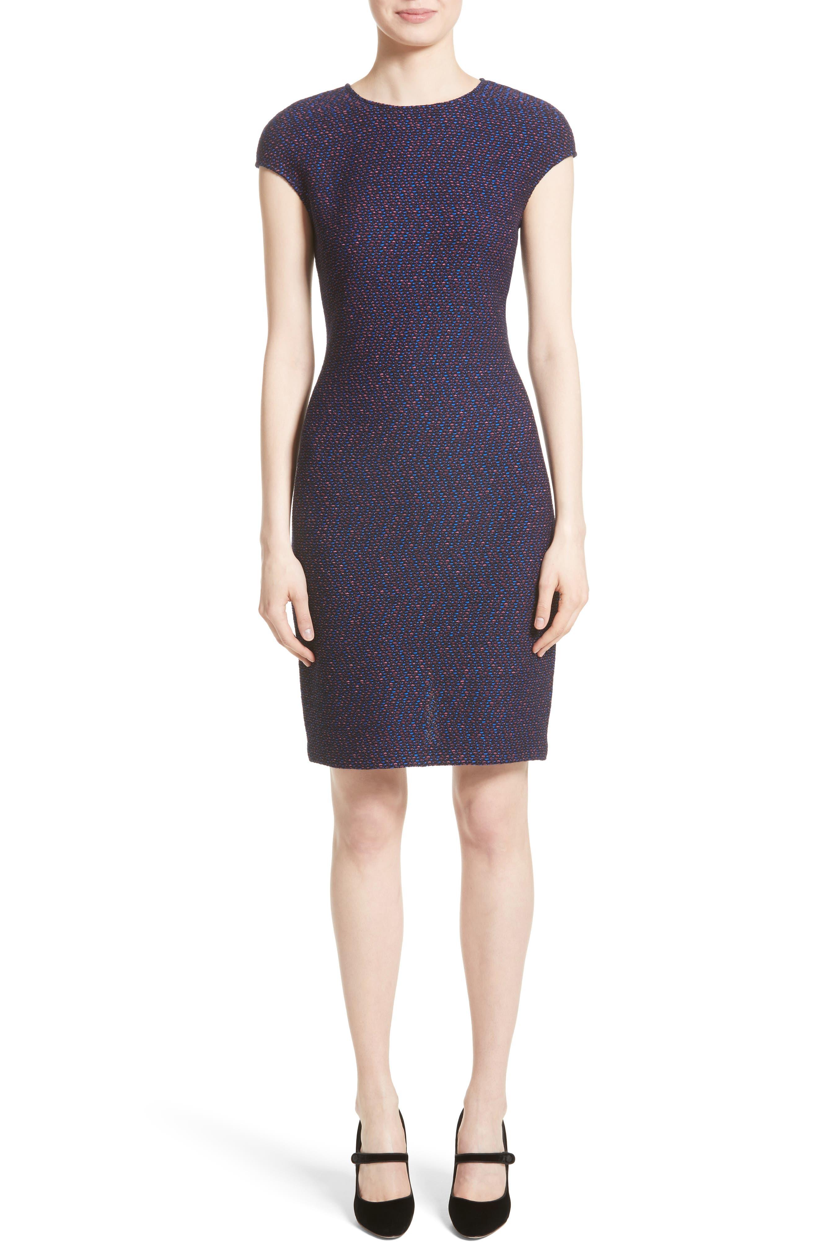 Broken Chevron Knit Sheath Dress,                             Main thumbnail 1, color,                             Navy Multi