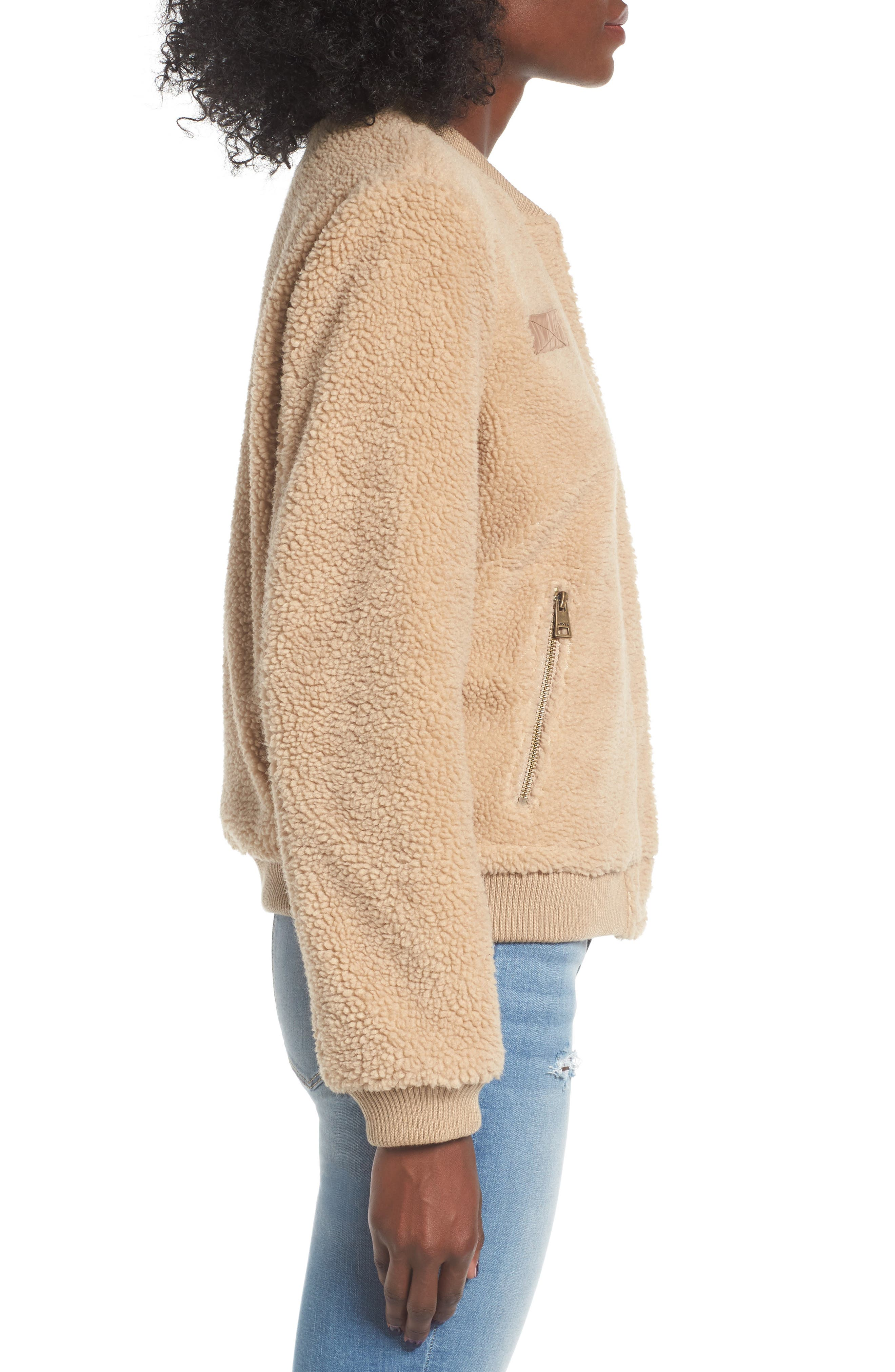 Faux Shearling Bomber Jacket,                             Alternate thumbnail 3, color,                             Camel
