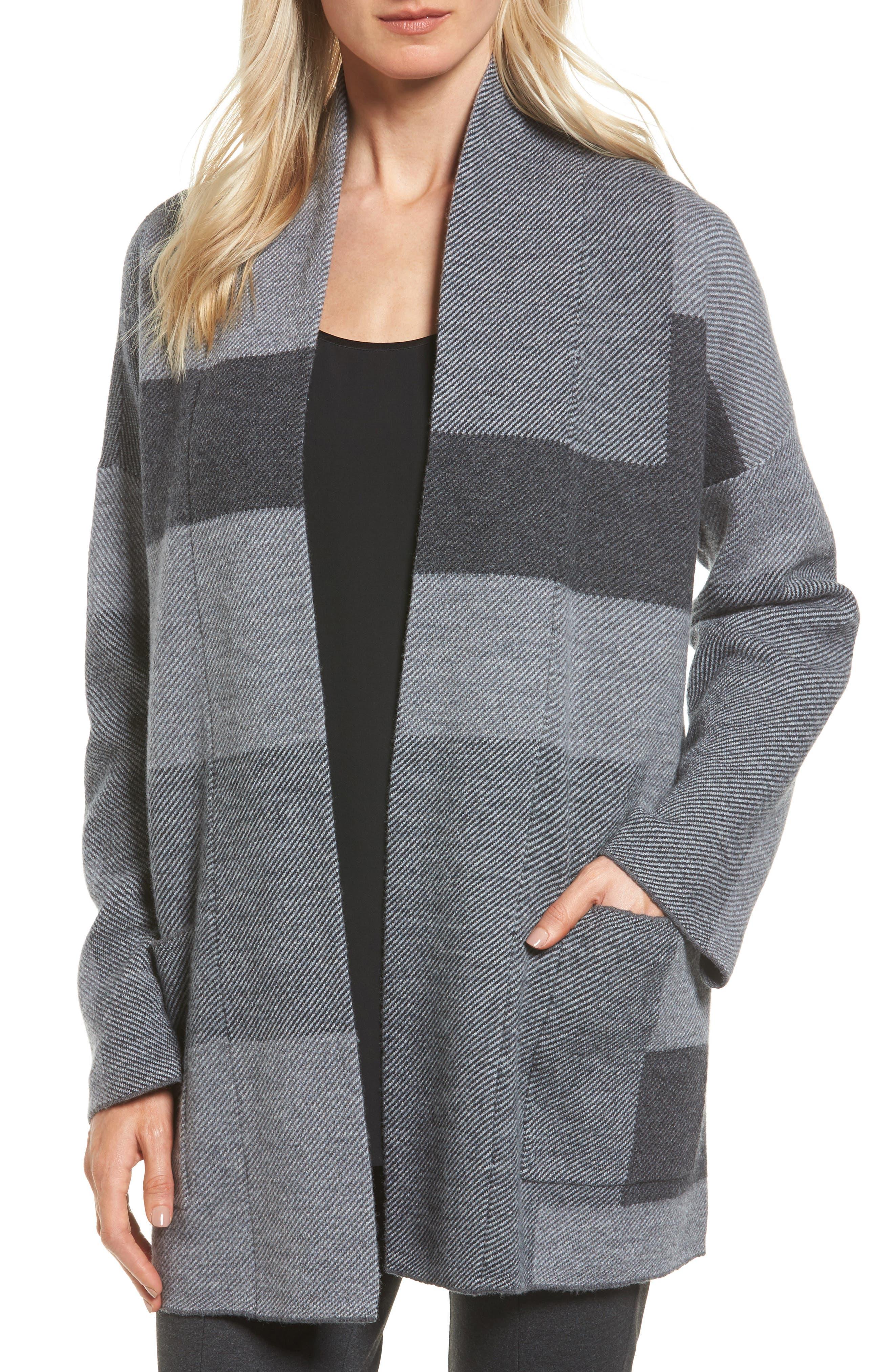 Eileen Fisher Colorblock Merino Wool Coat (Regular & Petite)
