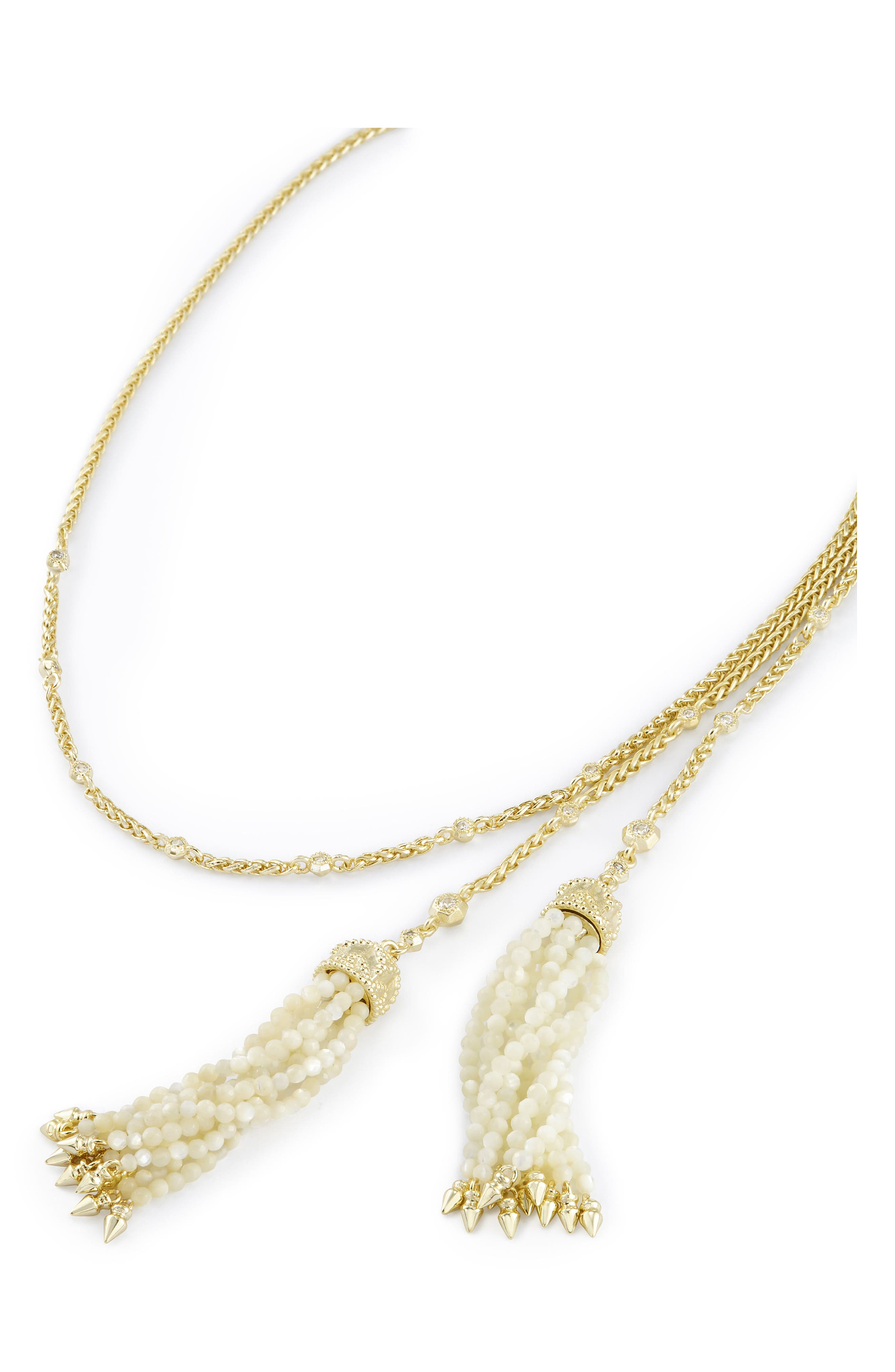 Monique Tassel Necklace,                             Alternate thumbnail 3, color,                             Ivory Mop/ Gold