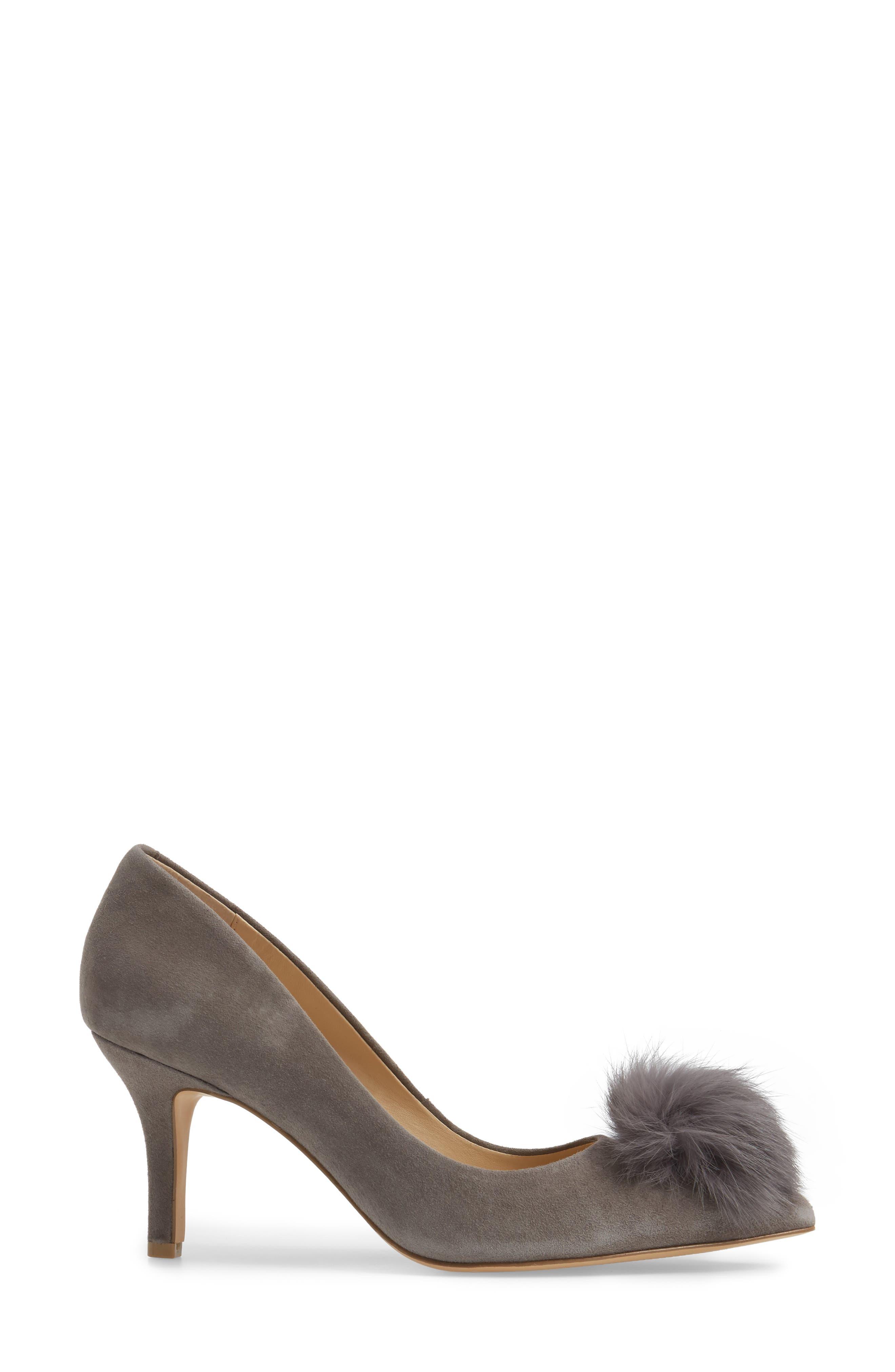 Sadie Genuine Rabbit Fur Pom Pump,                             Alternate thumbnail 3, color,                             Slate Suede