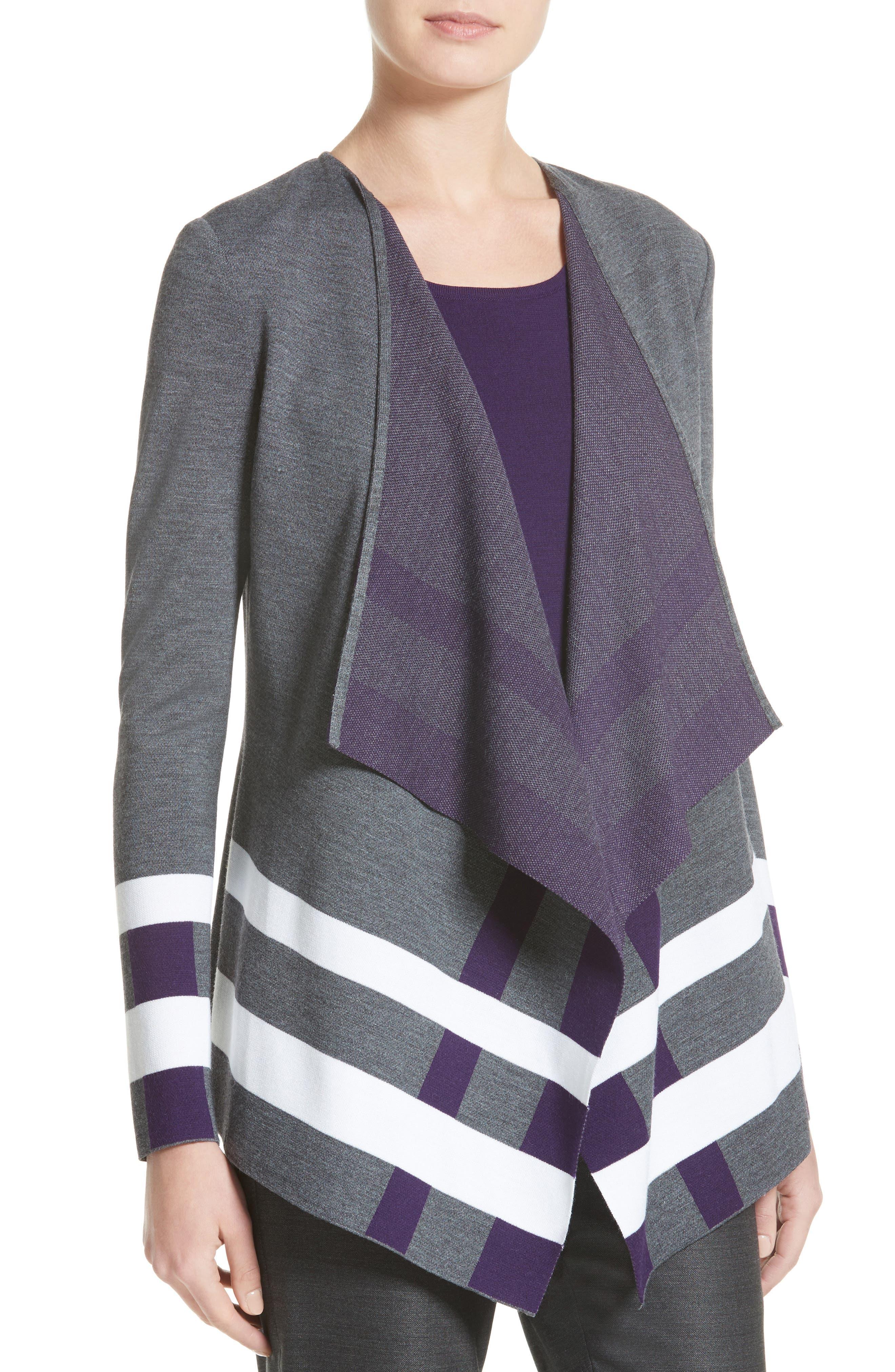 Milano Knit Jacquard Drape Front Jacket,                             Alternate thumbnail 4, color,                             Flint Multi