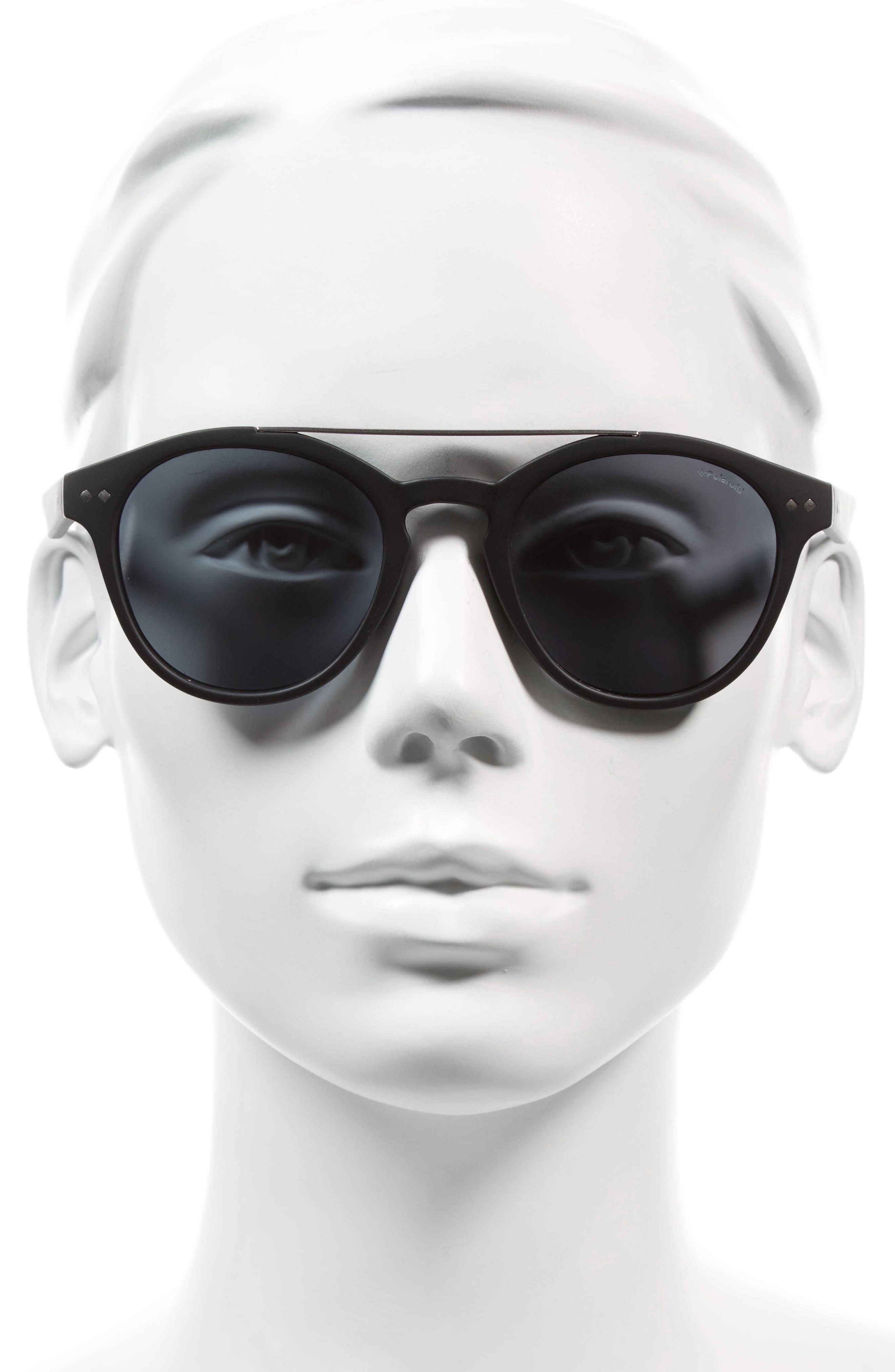 50mm Polarized Retro Sunglasses,                             Alternate thumbnail 2, color,                             Matte Black