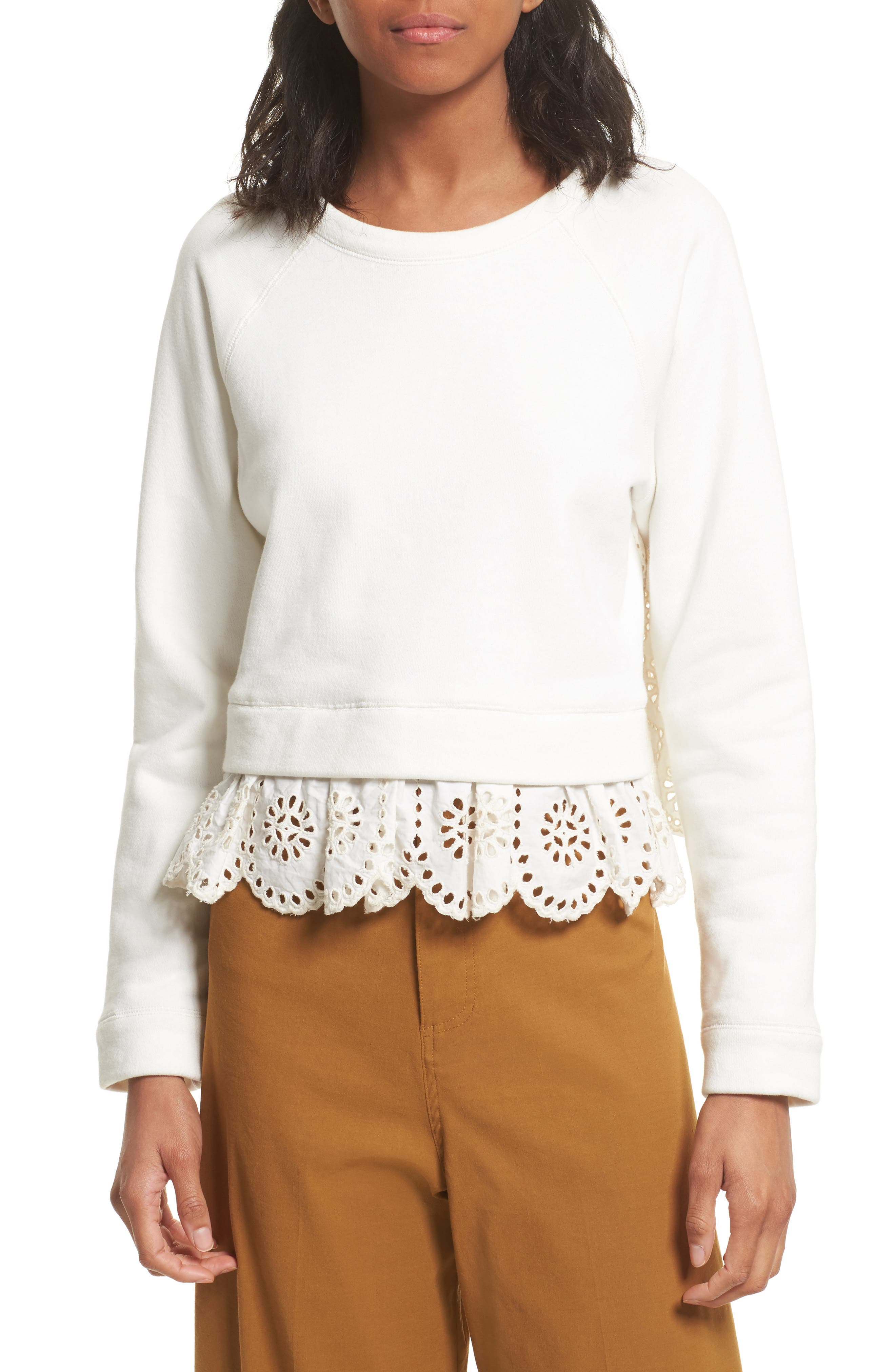 Sea Eyelet Trim Sweatshirt
