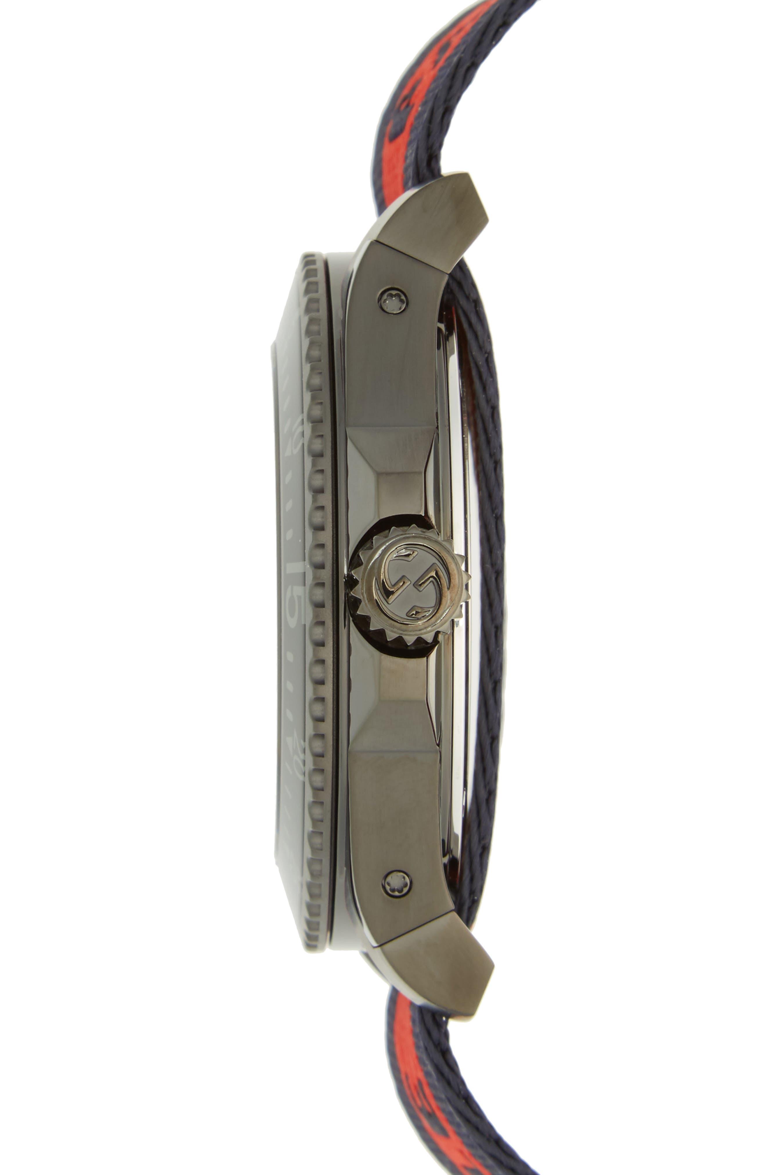 Alternate Image 3  - Gucci Tiger Insignia Web Strap Watch, 45mm