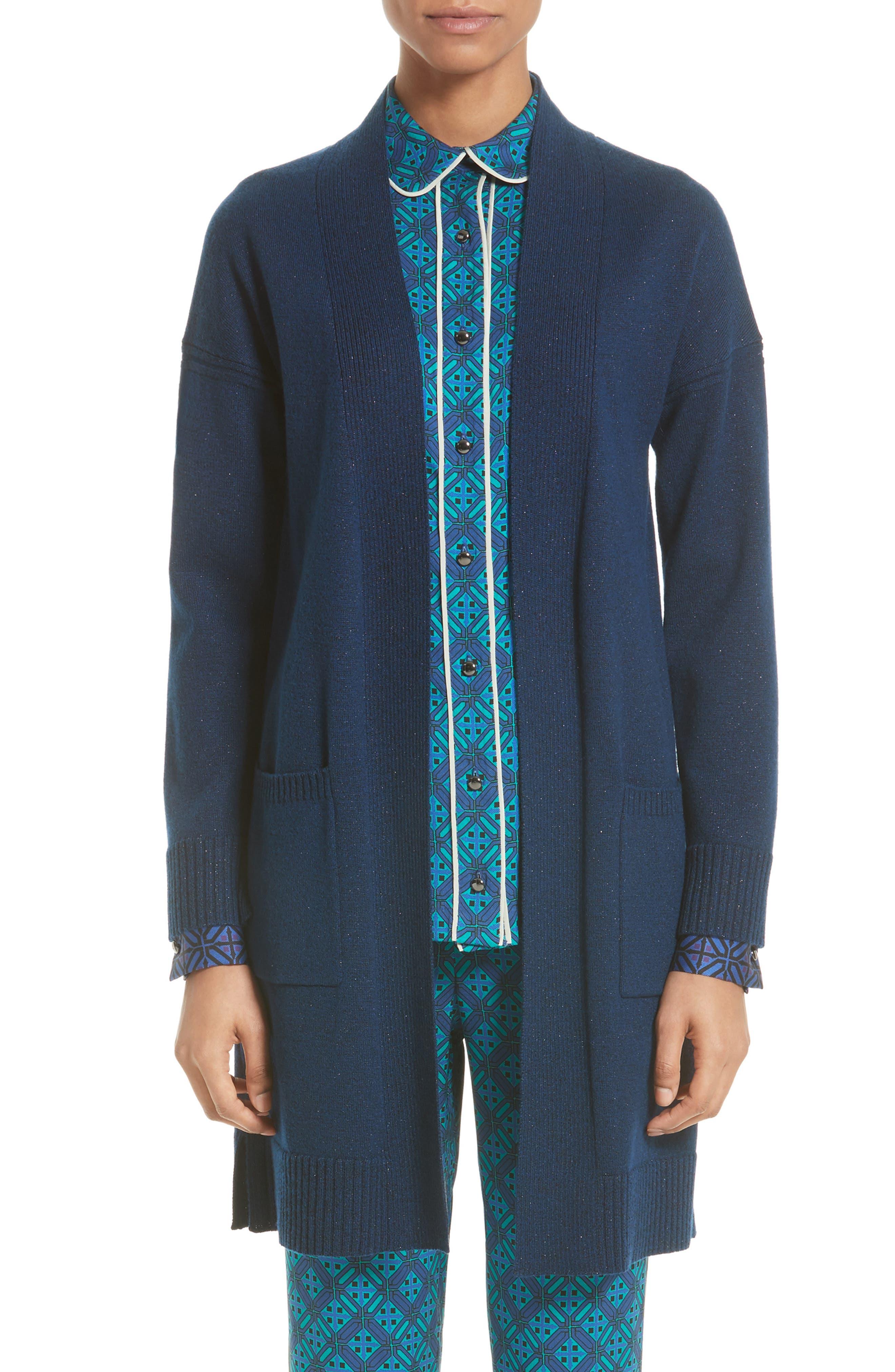 Jersey Cashmere Blend Sparkle Knit Jacket,                         Main,                         color, Azurite