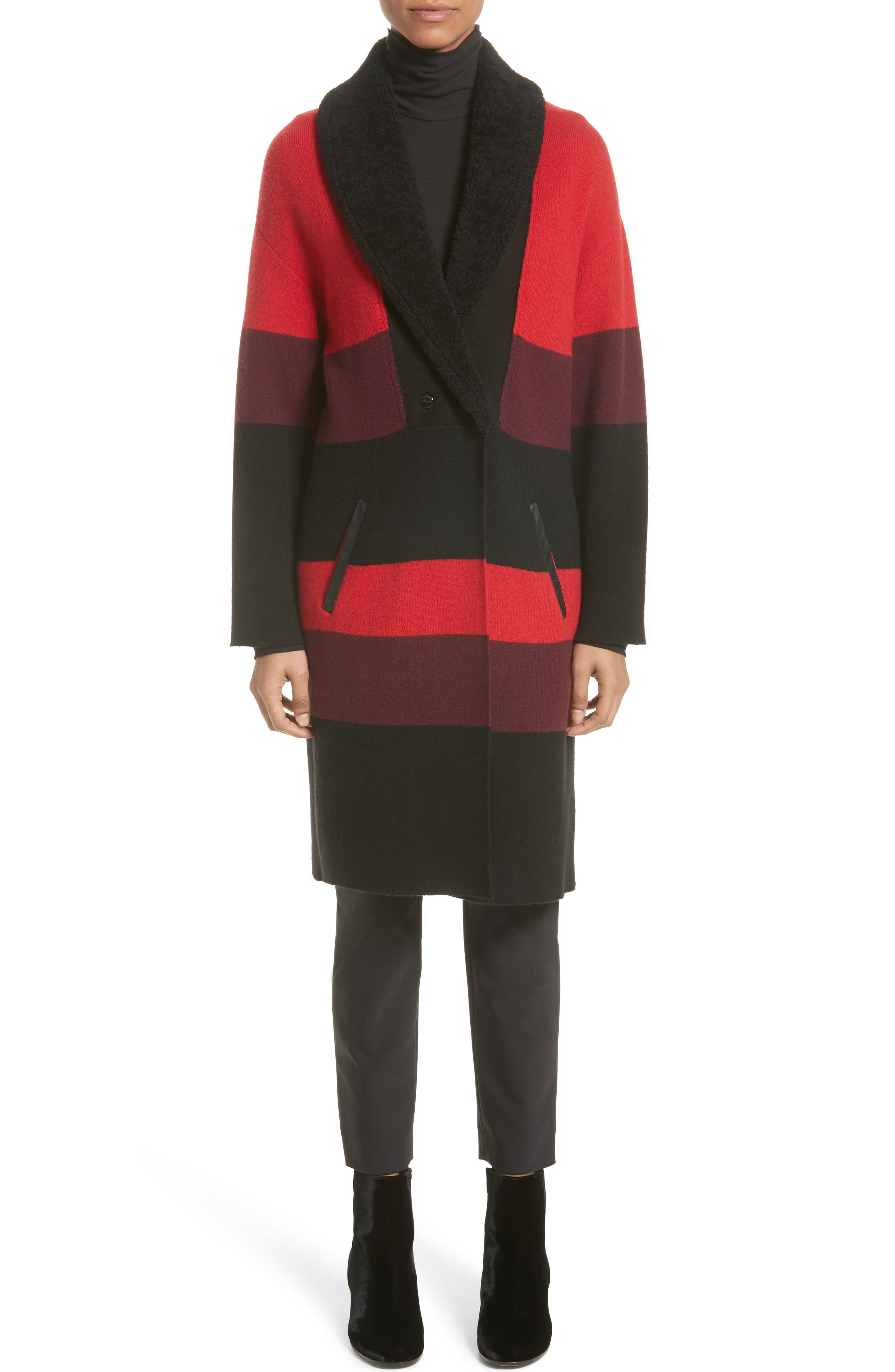 Double Knit Felted Wool Blend Coat with Genuine Shearling Collar,                             Alternate thumbnail 8, color,                             Caviar/ Sari Multi