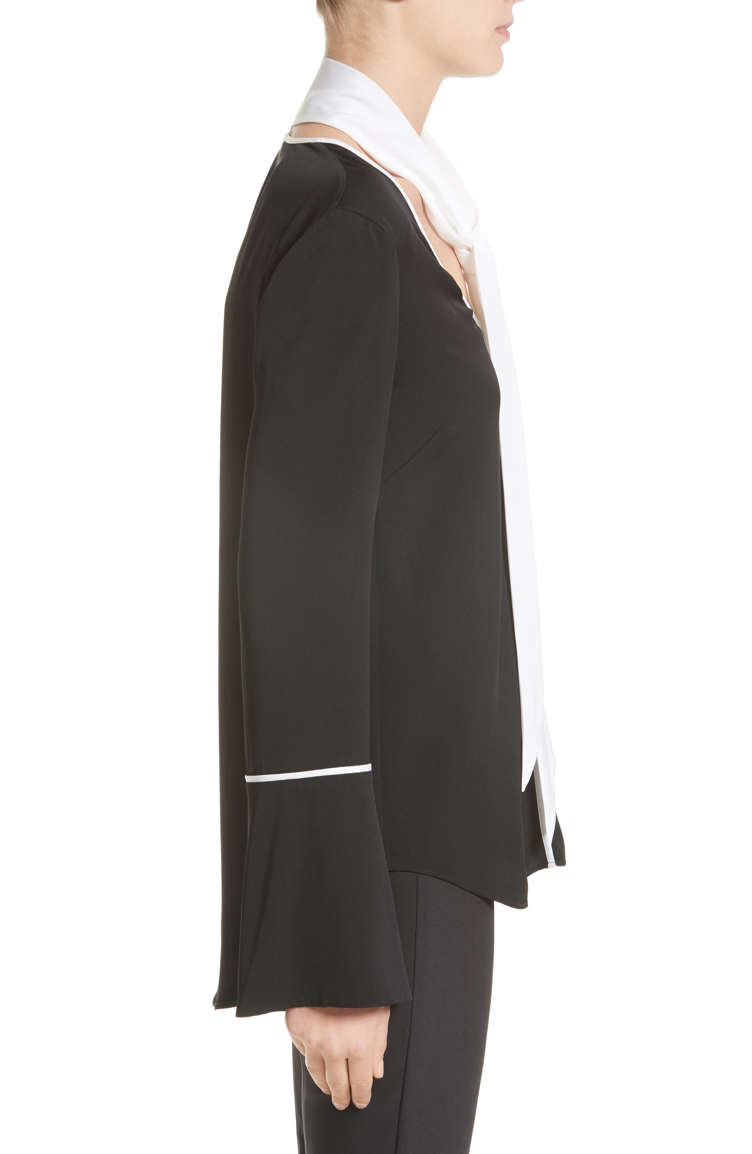 Stretch Silk Double Georgette Blouse with Removable Scarf,                             Alternate thumbnail 3, color,                             Caviar/ Bianco