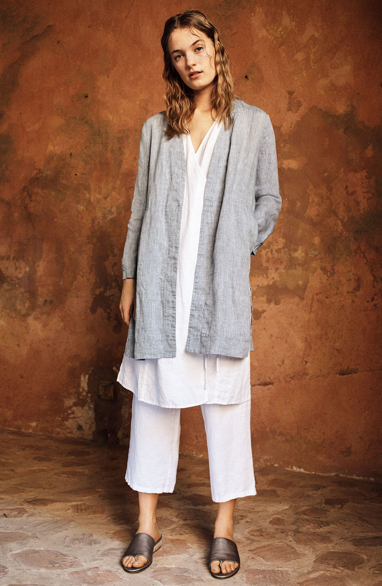 Long Organic Linen Jacket,                             Alternate thumbnail 2, color,                             Chambray