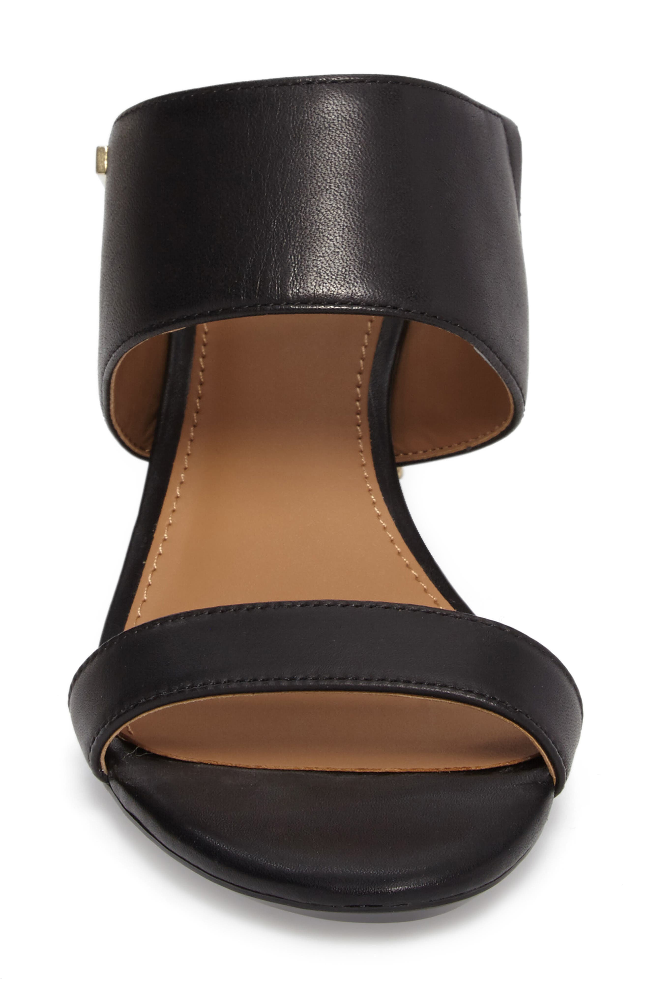 Phyllis Studded Wedge Sandal,                             Alternate thumbnail 4, color,                             Black Leather
