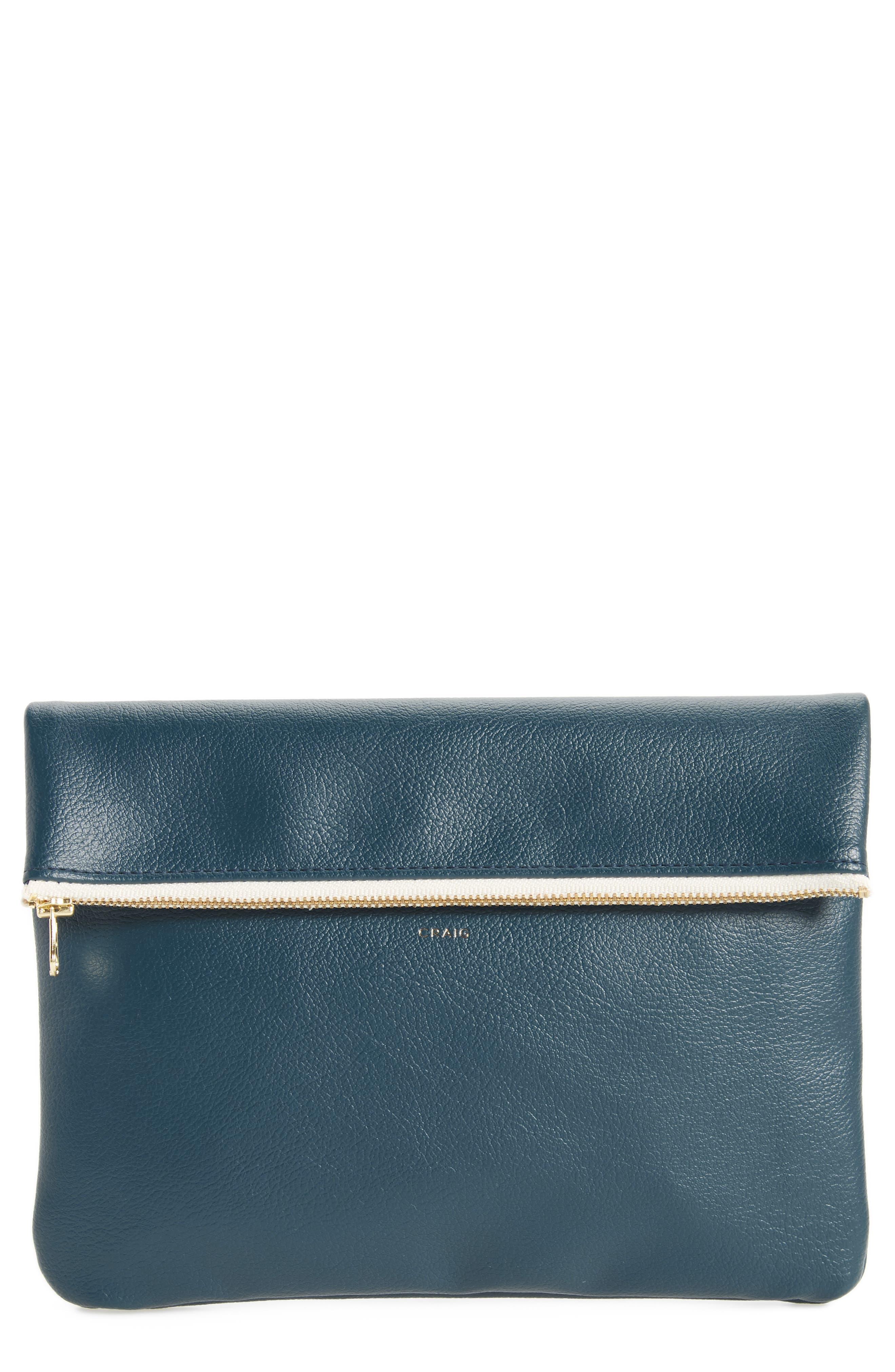 Craig Medium Faux Leather Clutch,                         Main,                         color, Dark Blue