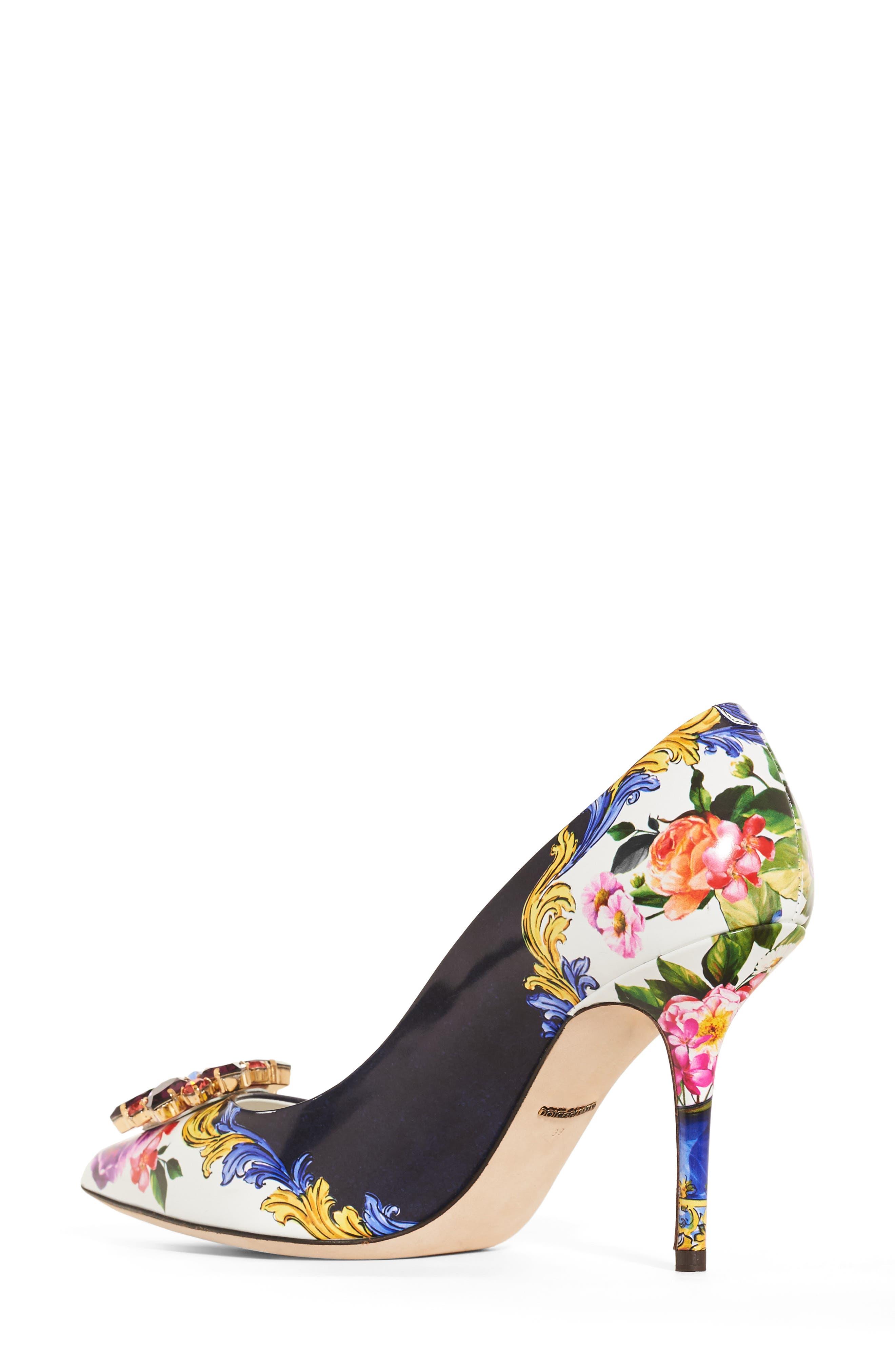 Dolce & Gabbana Print Pump,                             Alternate thumbnail 2, color,                             Navy/ White Floral