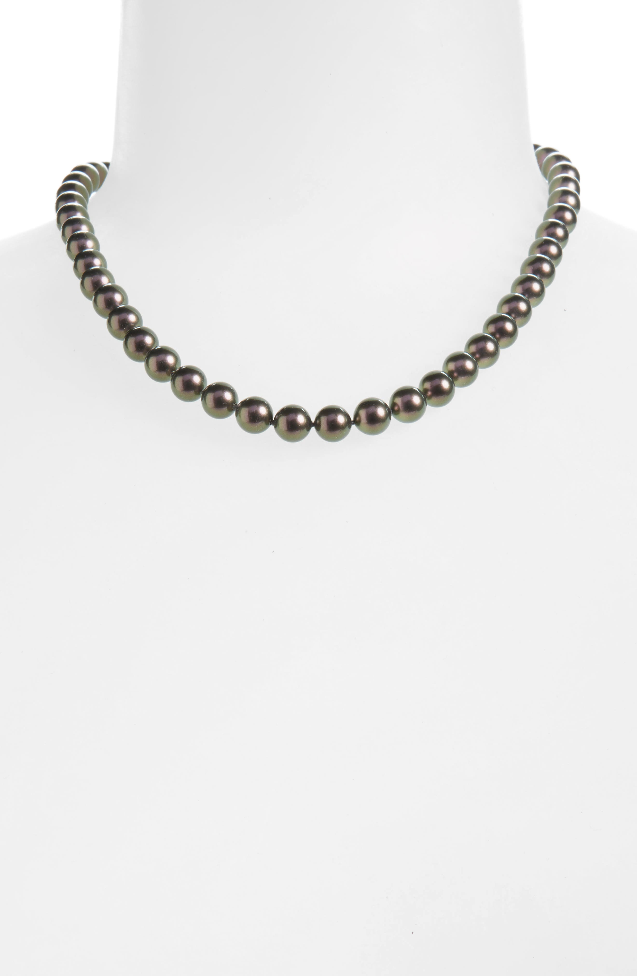 8mm Round Simulated Pearl Strand Necklace,                             Alternate thumbnail 2, color,                             Grey