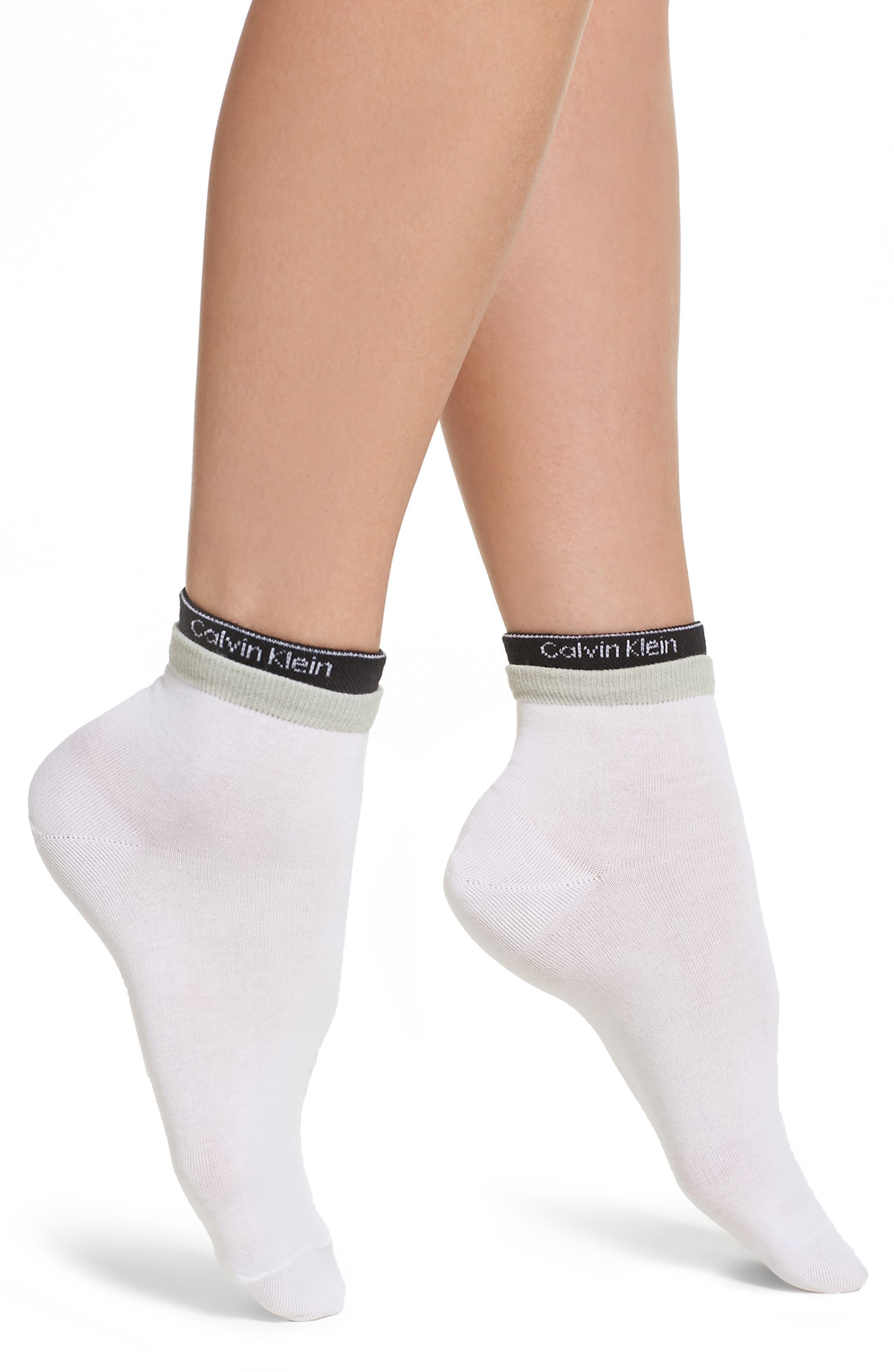 Modern Logo Ankle Socks,                         Main,                         color, White