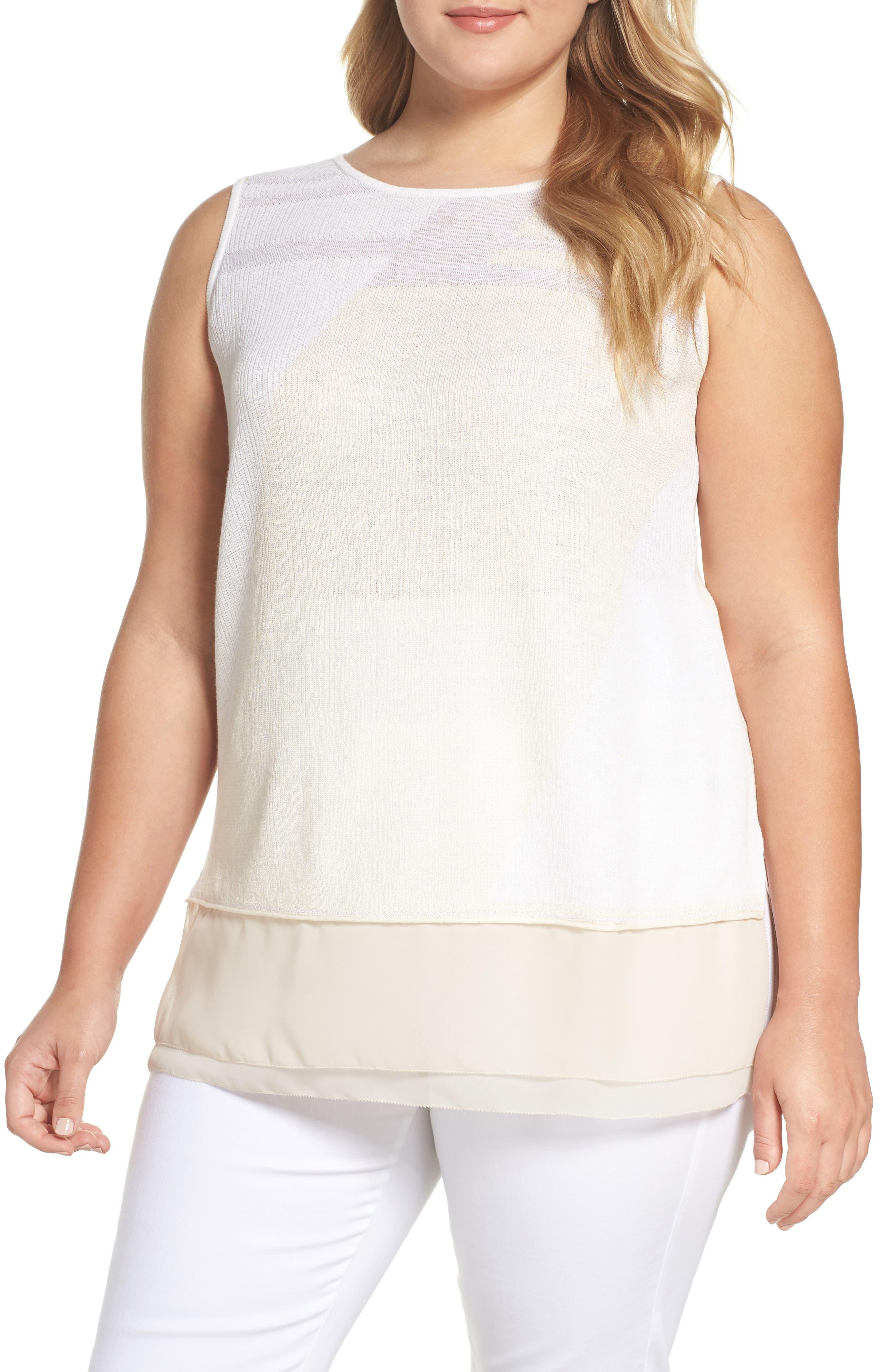 NIC+ZOE Sunlight Chiffon Trim Linen Blend Sweater (Plus Size)