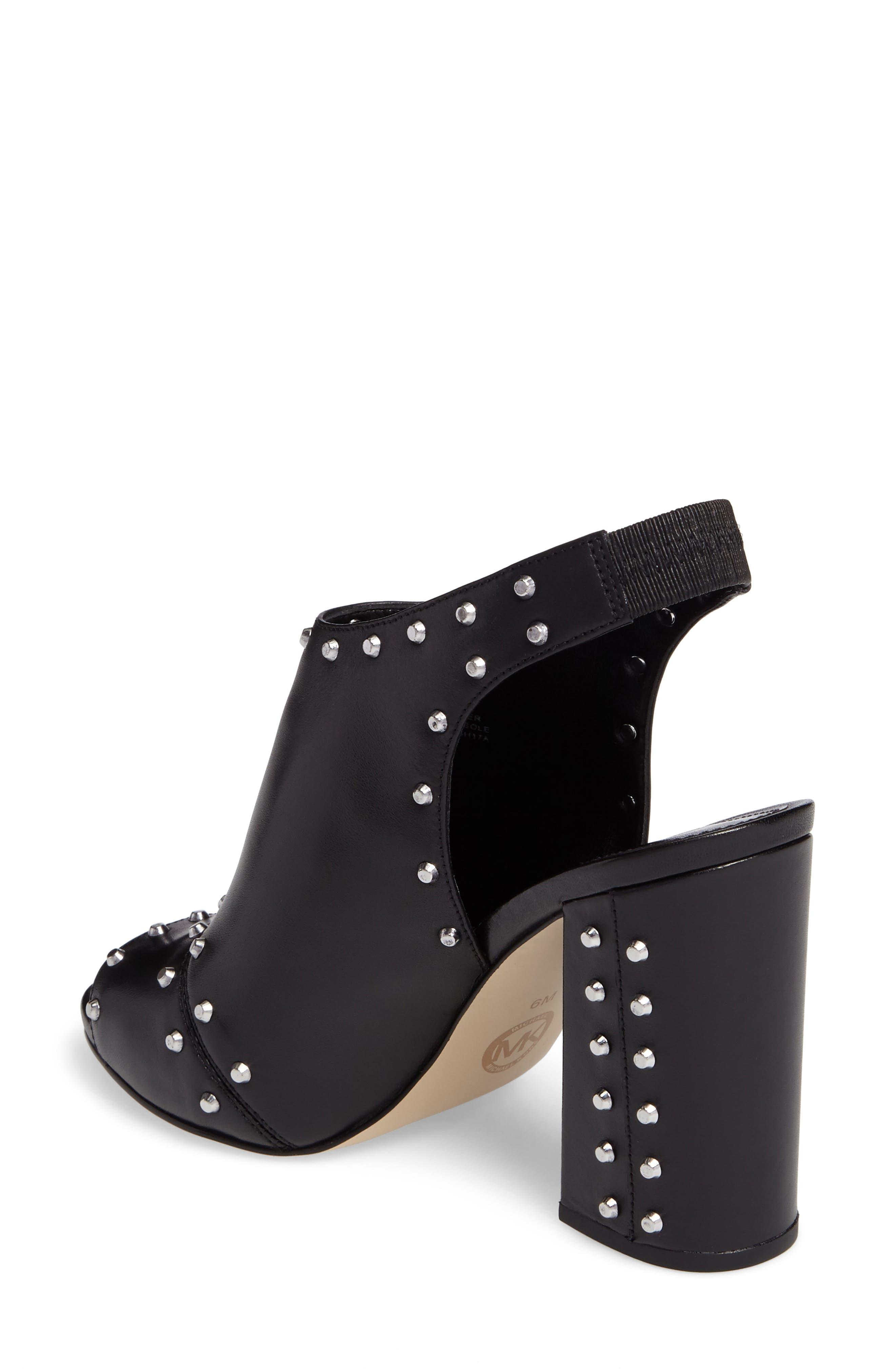 Astor Studded Sandal,                             Alternate thumbnail 2, color,                             Black Leather