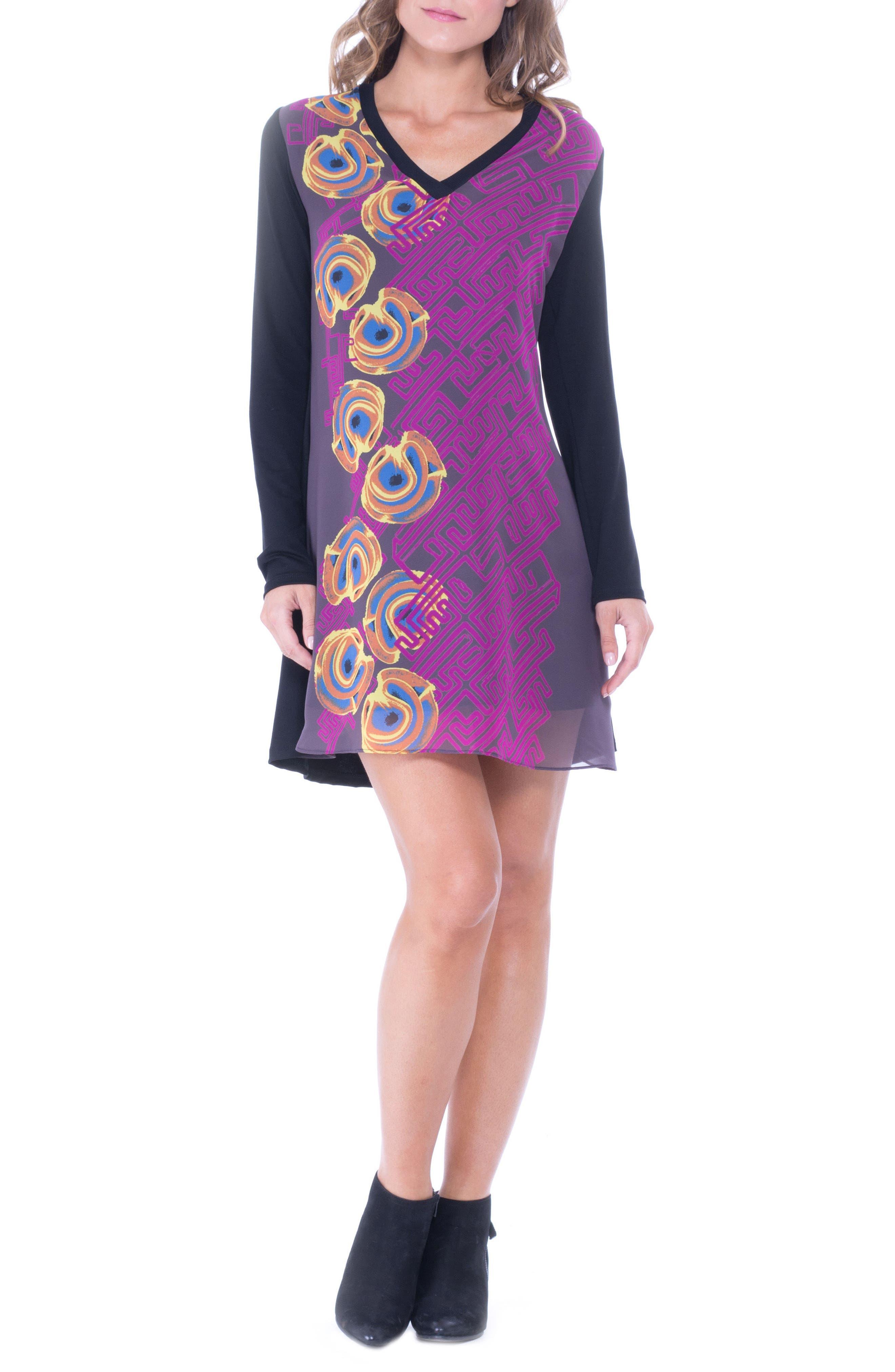 Olian Graphic Chiffon Overlay Maternity Dress