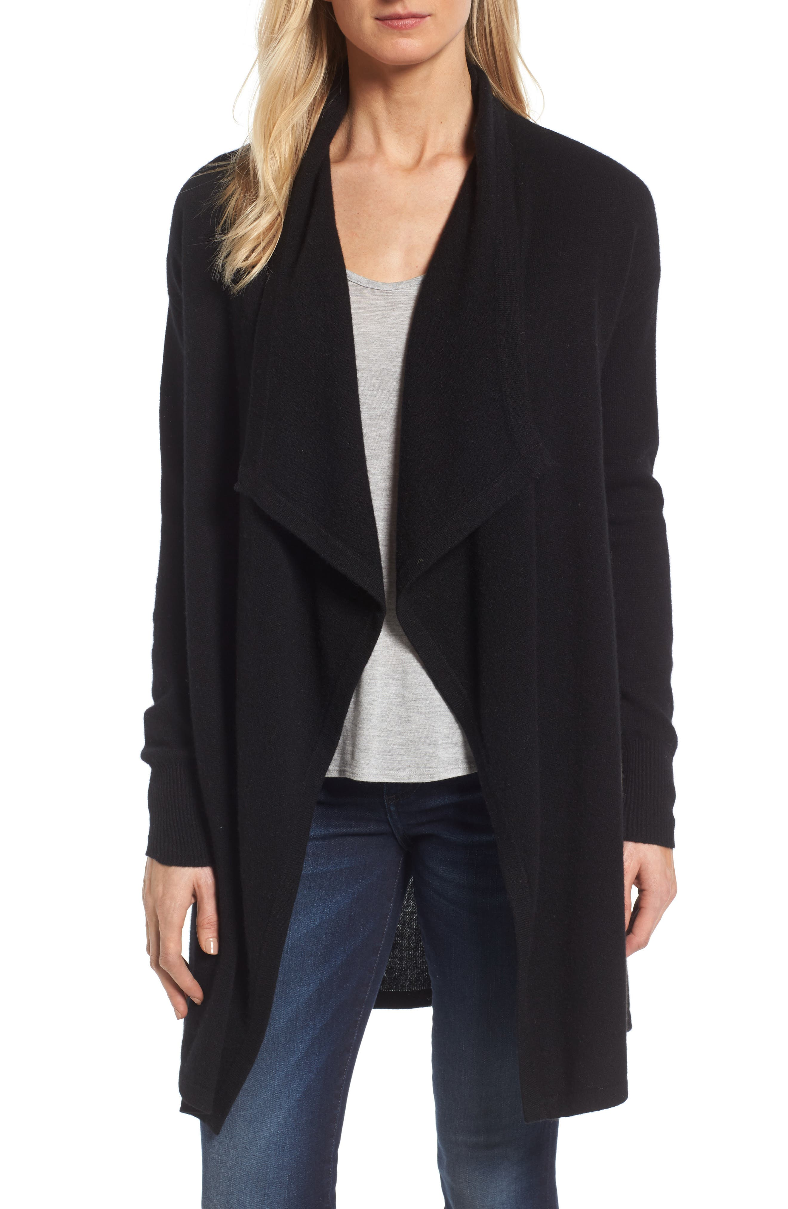 Alternate Image 1 Selected - Halogen® Cashmere Long Drape Front Cardigan (Regular & Petite)