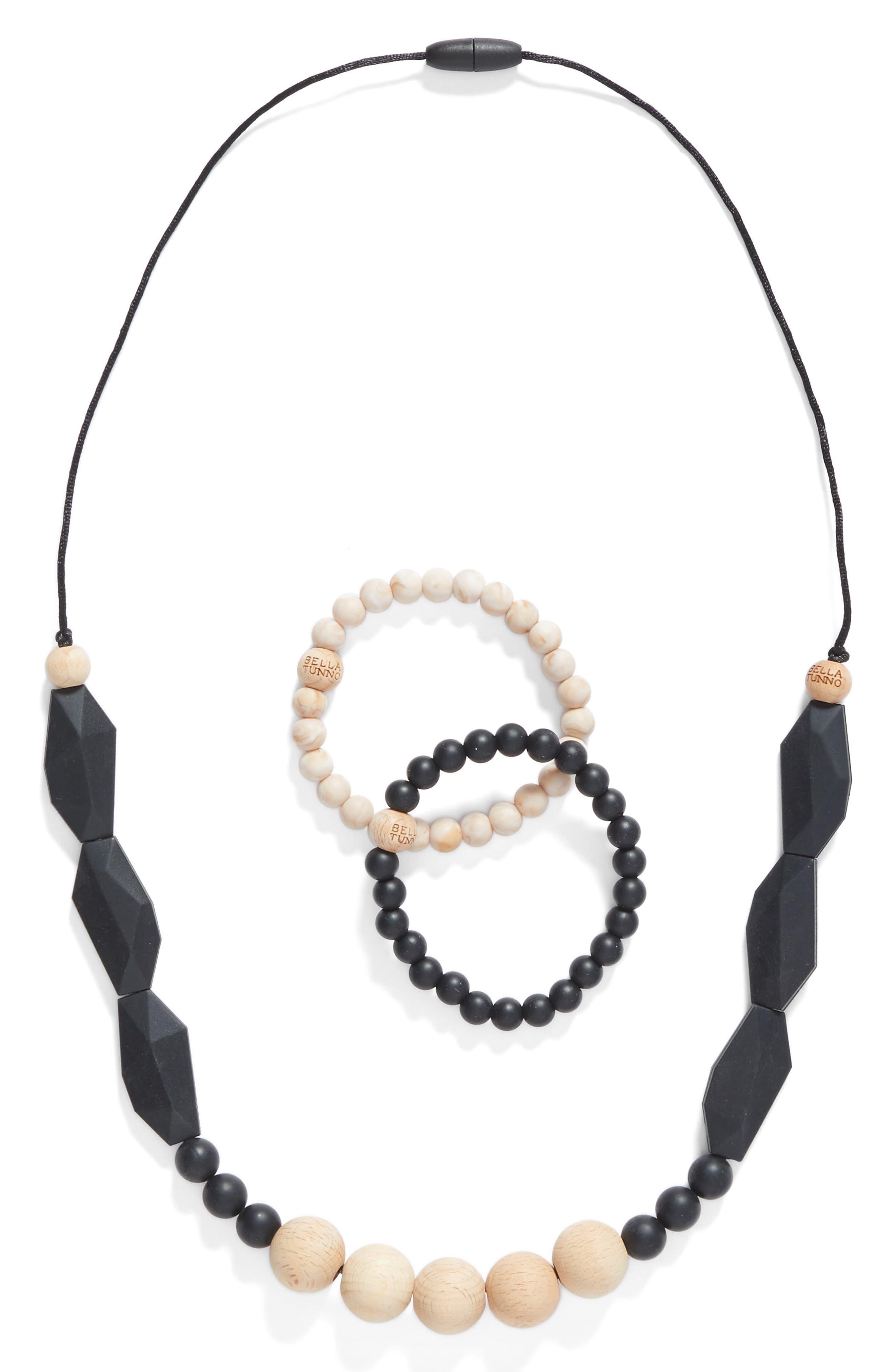 3-Piece Teething Necklace & Bracelet Set,                             Main thumbnail 1, color,                             Smoky Black