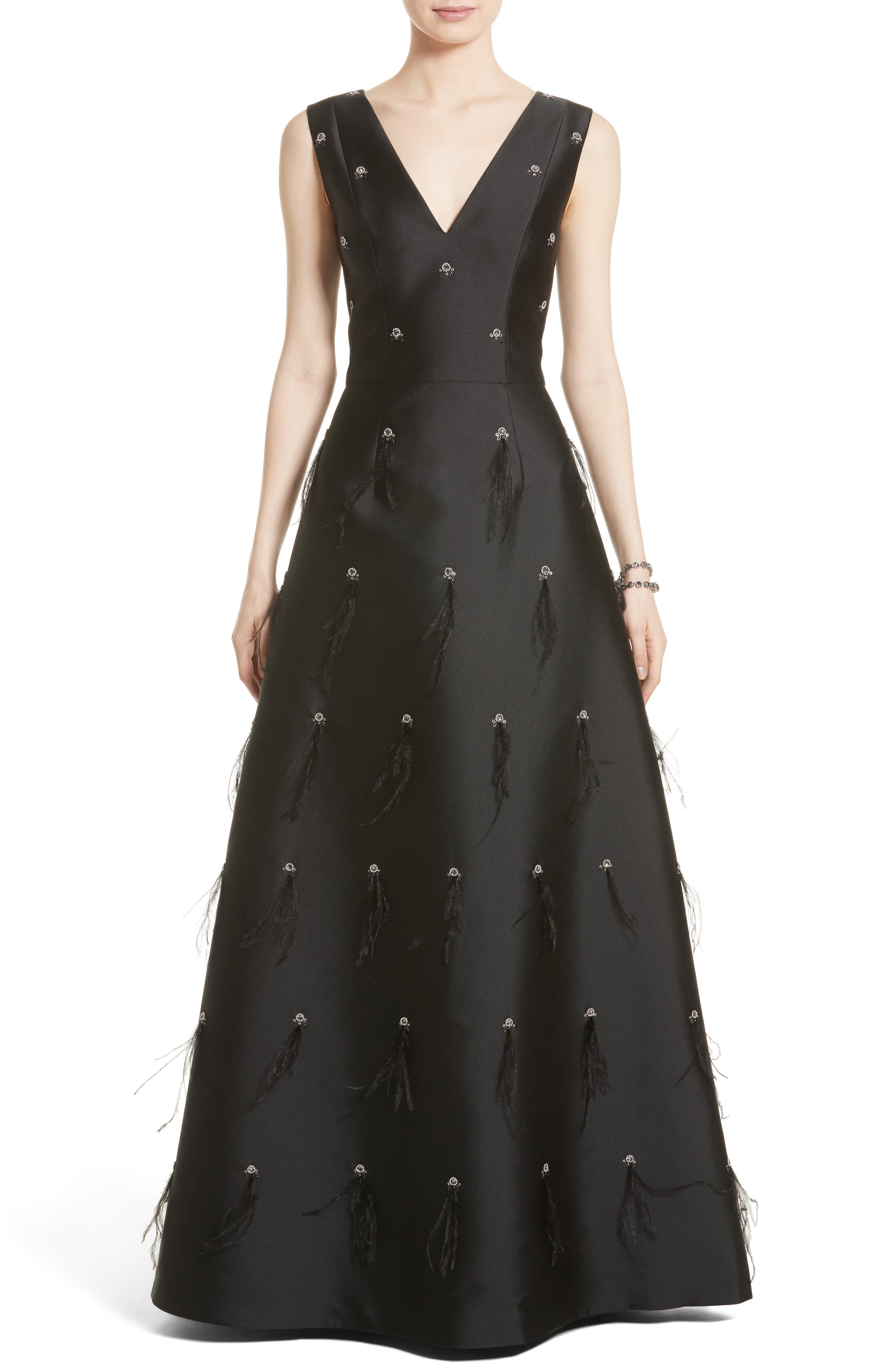 St. John Collection Hand Beaded Mikado Gown,                         Main,                         color, Caviar