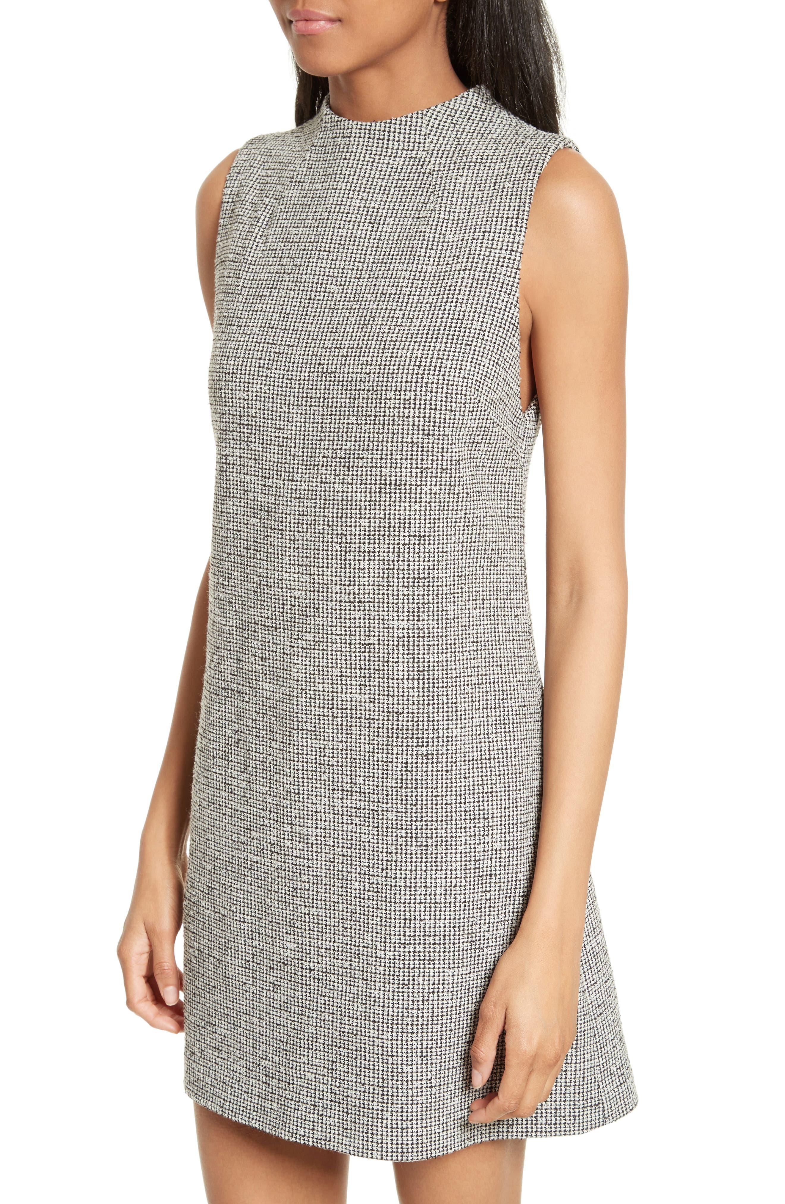 Coley Mock Neck Dress,                             Alternate thumbnail 4, color,                             Black/ White