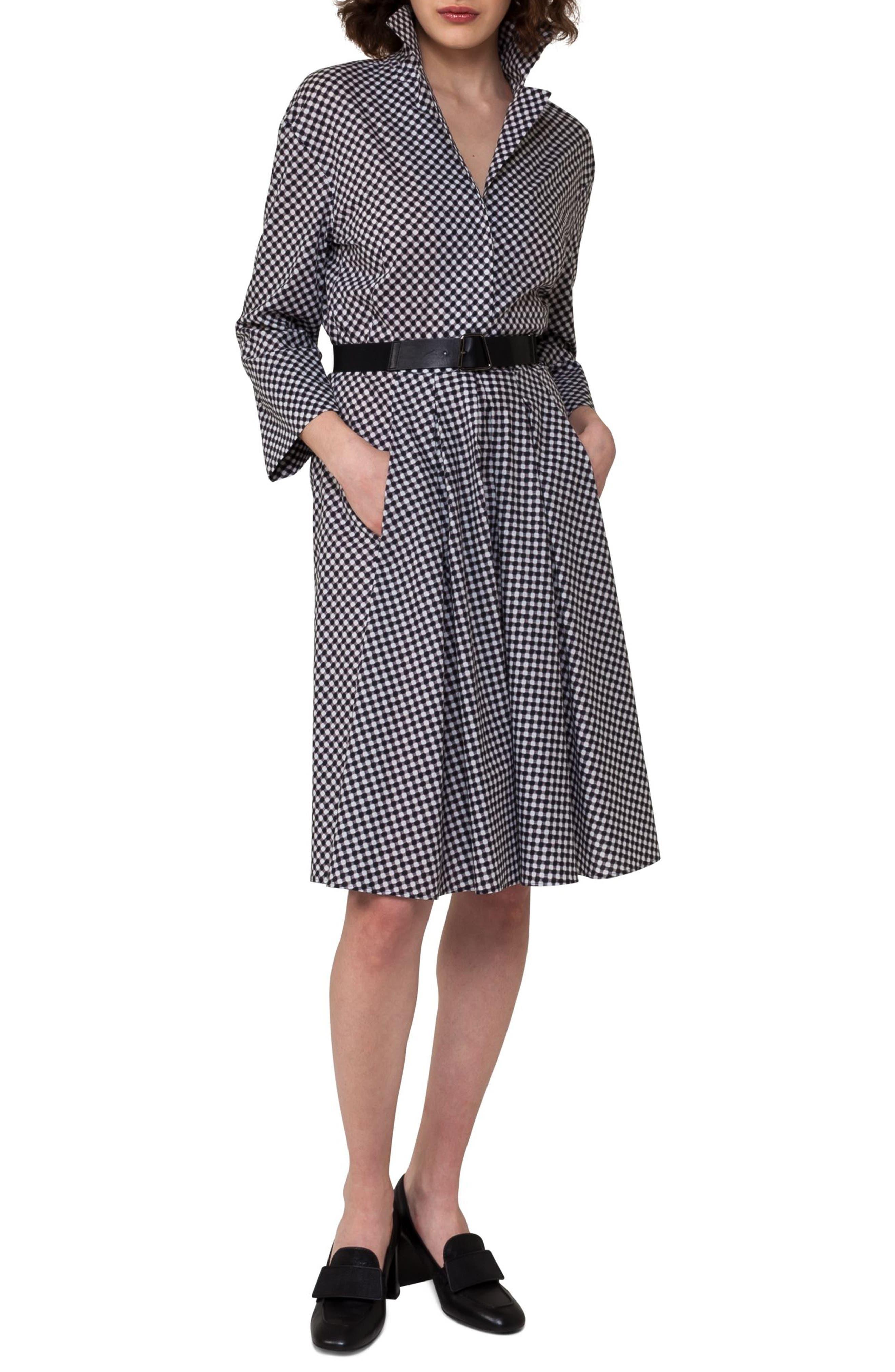 Belted Check Cotton Dress,                         Main,                         color, Crema/ Black