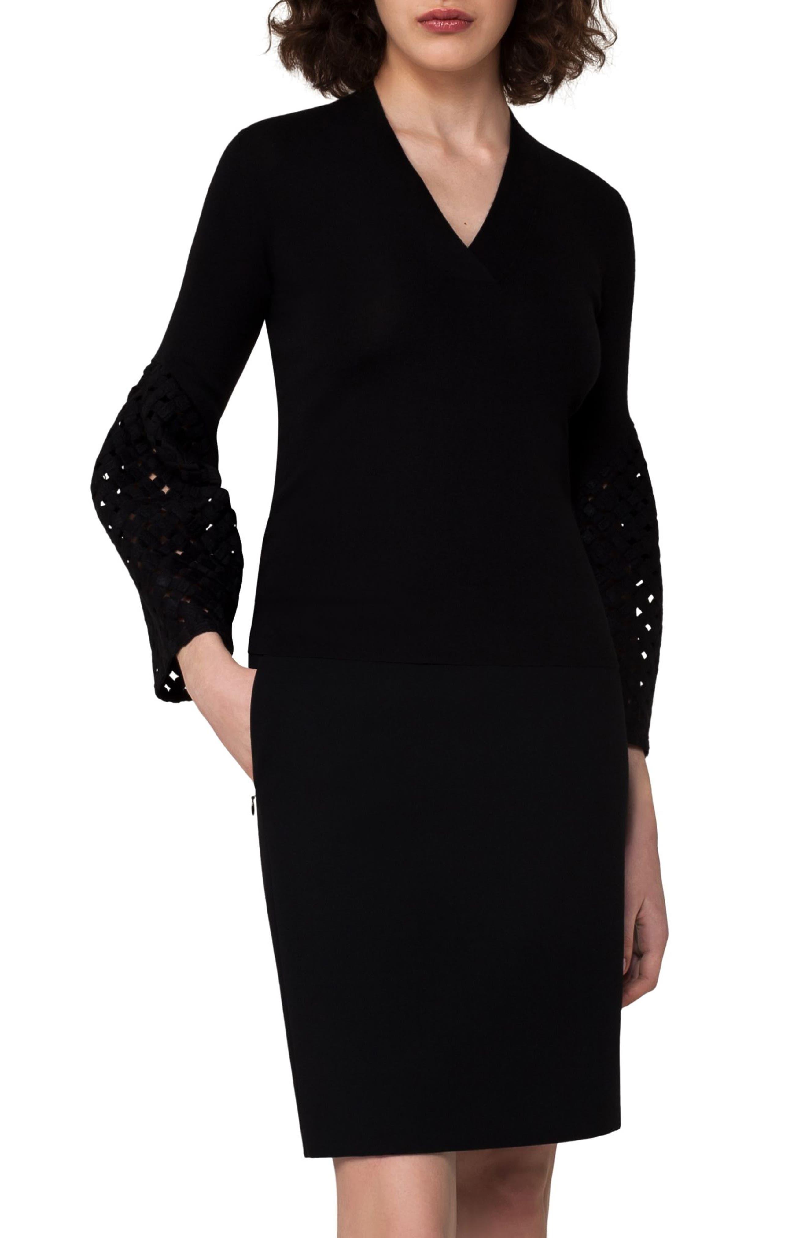 Lace Sleeve Cashmere & Silk Sweater,                         Main,                         color, Black