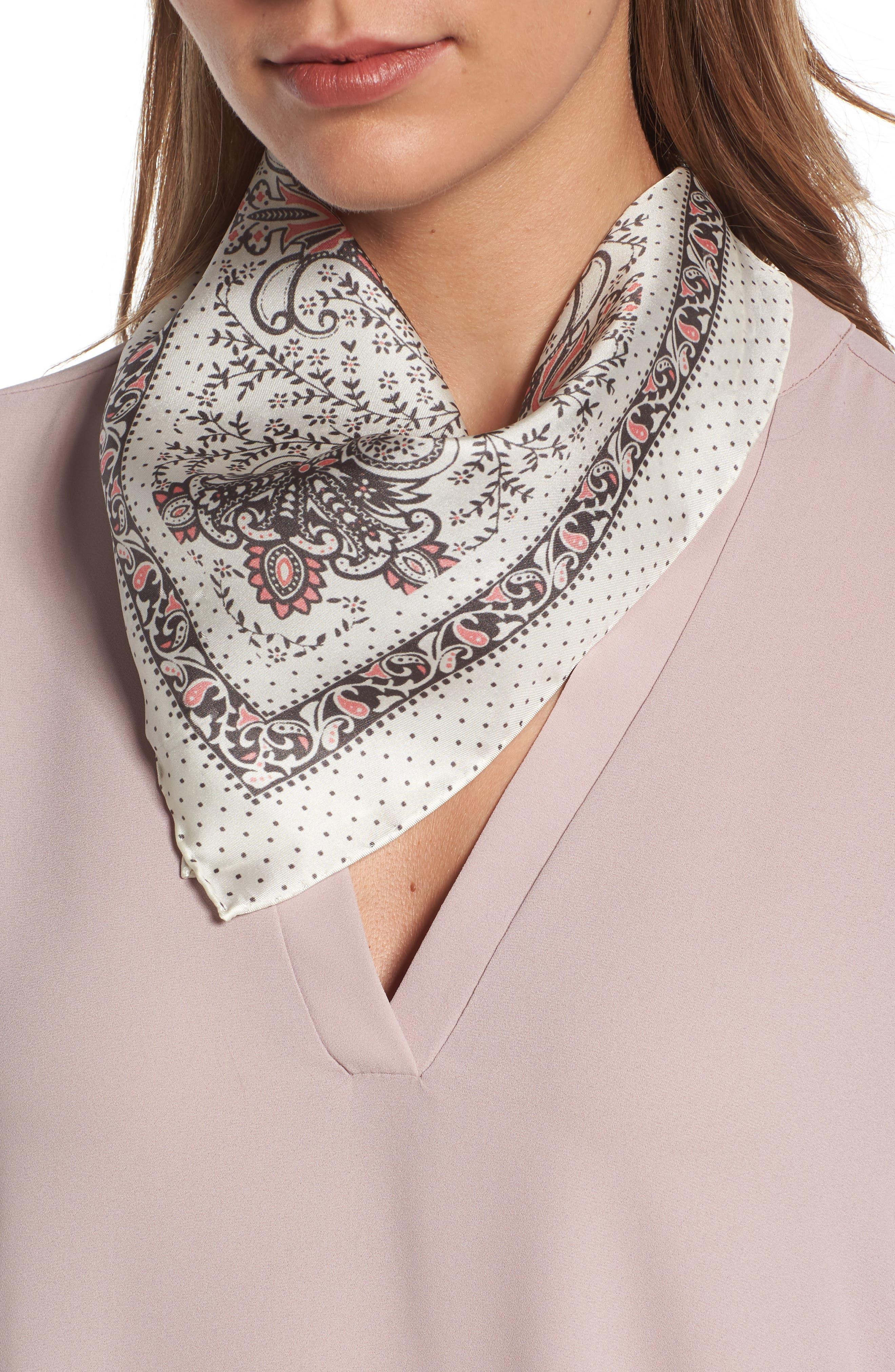 Handkerchief Paisley Silk Scarf,                         Main,                         color, Pale Nude