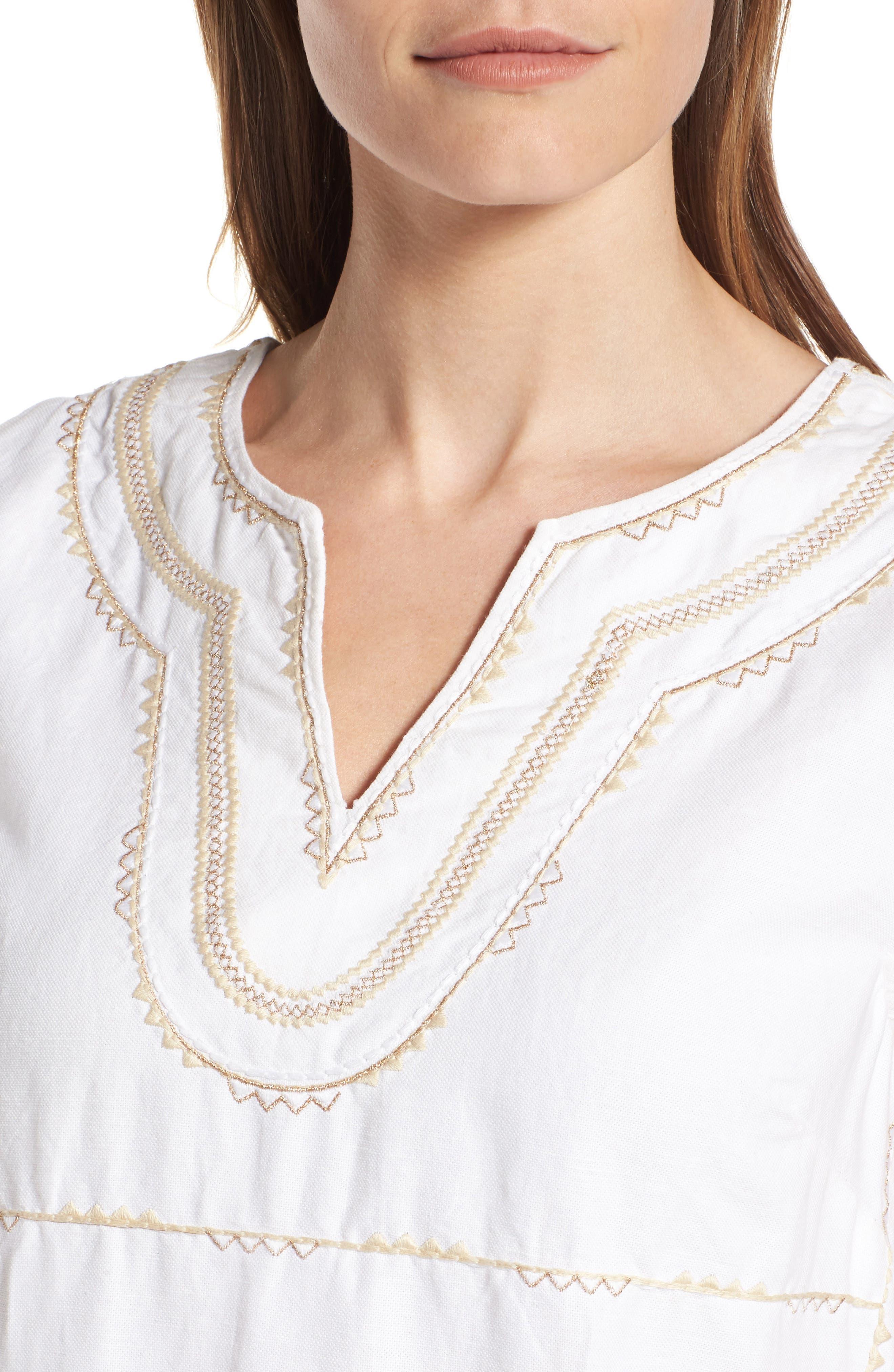 Embroidered Linen & Cotton Shift Dress,                             Alternate thumbnail 4, color,                             Bedouin Sand