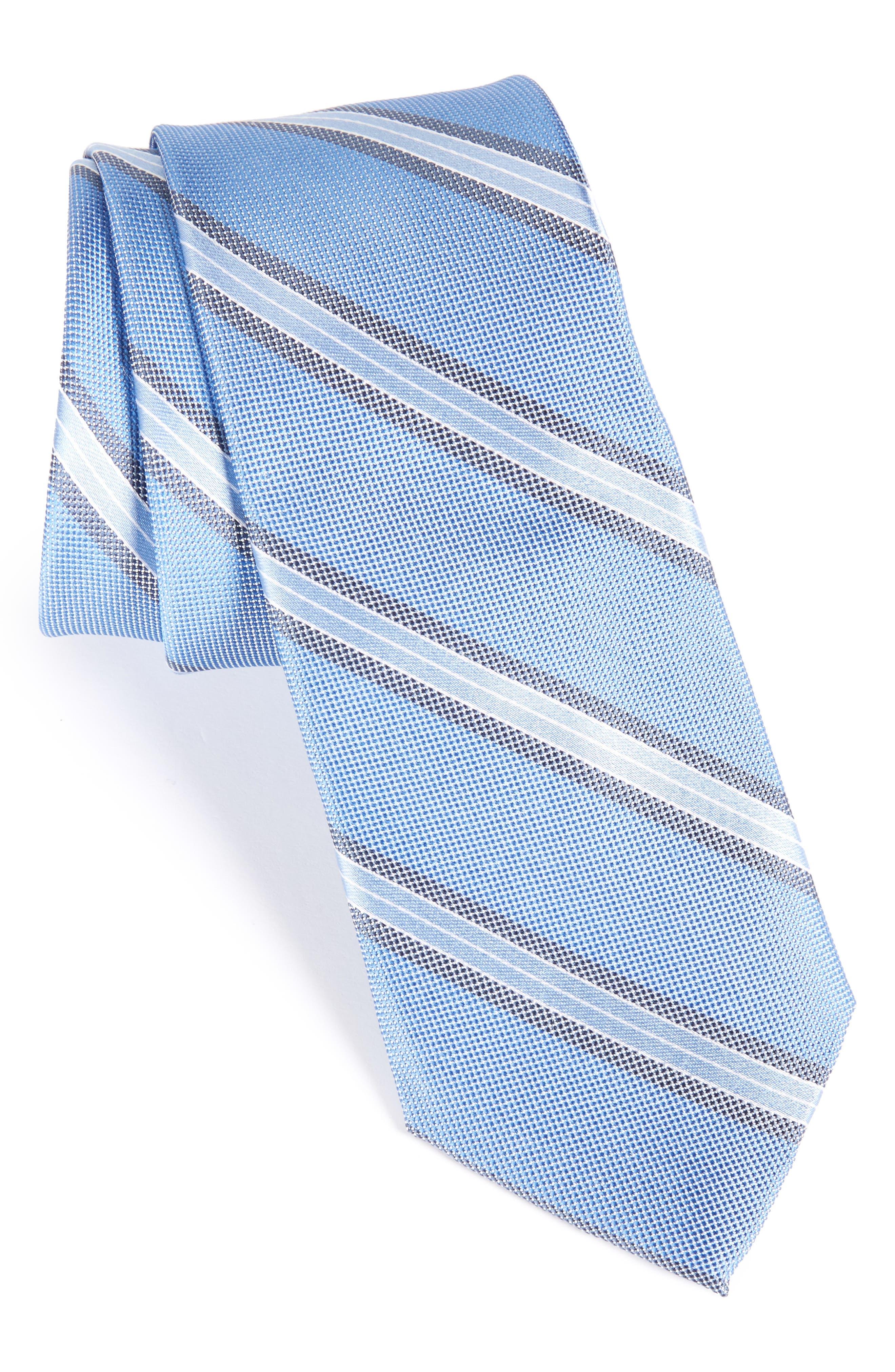 Stripe Silk Skinny Tie,                         Main,                         color, Blue