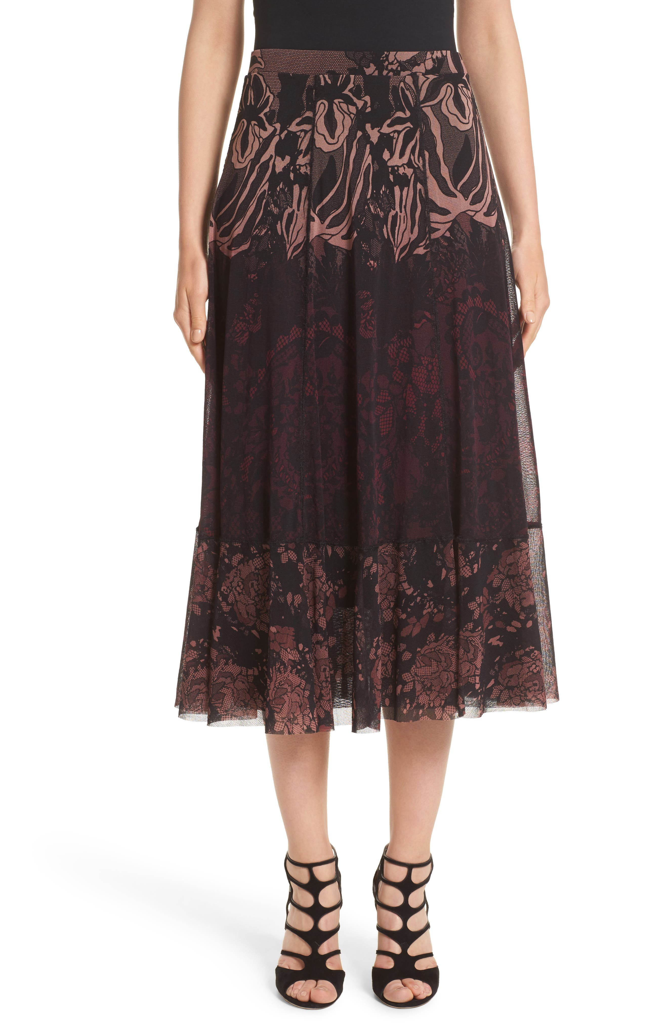 Tulle Midi Skirt,                             Main thumbnail 1, color,                             Plum