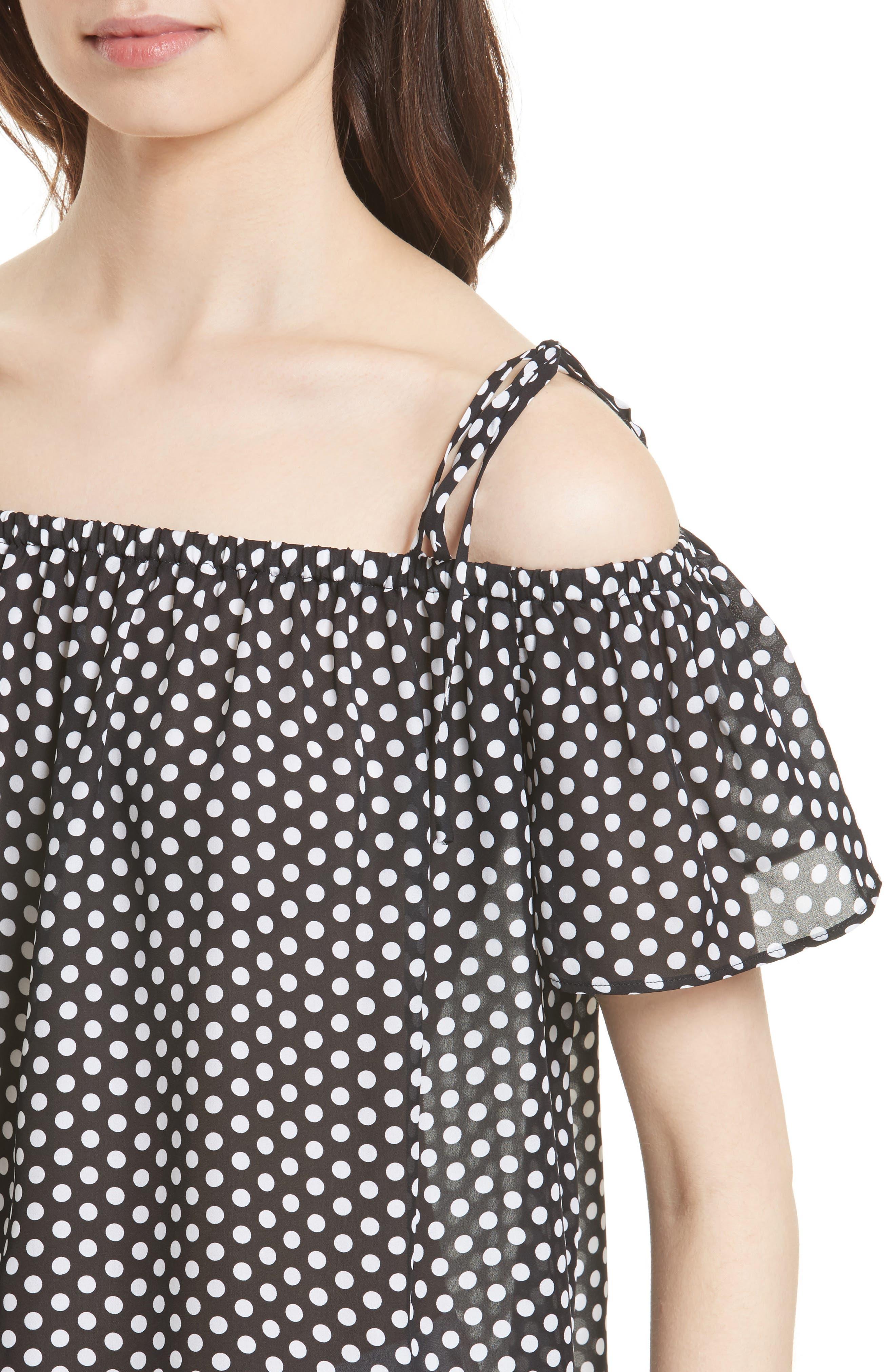 Eden Dot Print Silk Tie Shoulder Top,                             Alternate thumbnail 4, color,                             Black