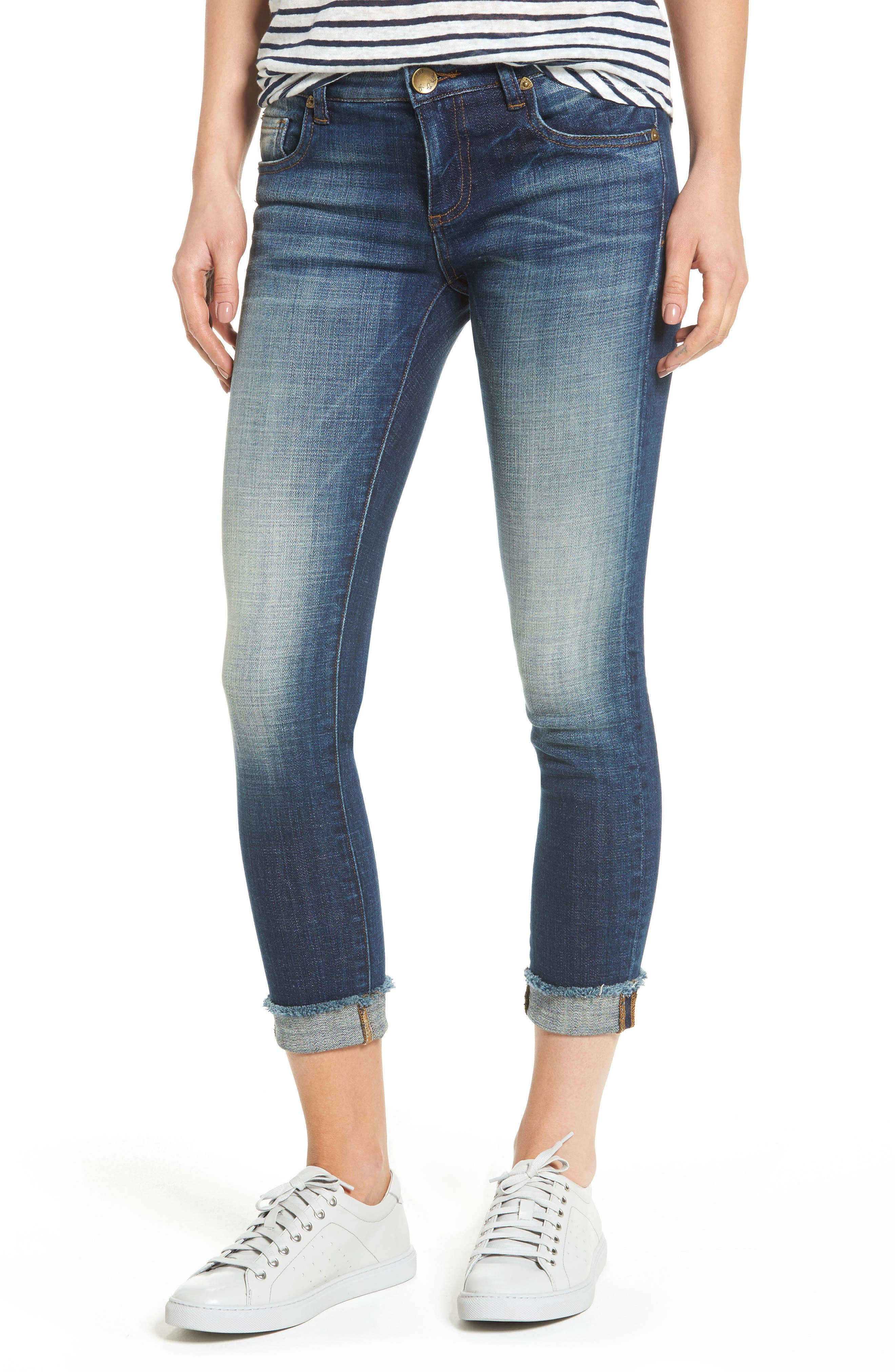 KUT from the Kloth Fray Cuff Straight Leg Jeans (Celebration) (Regular & Petite)