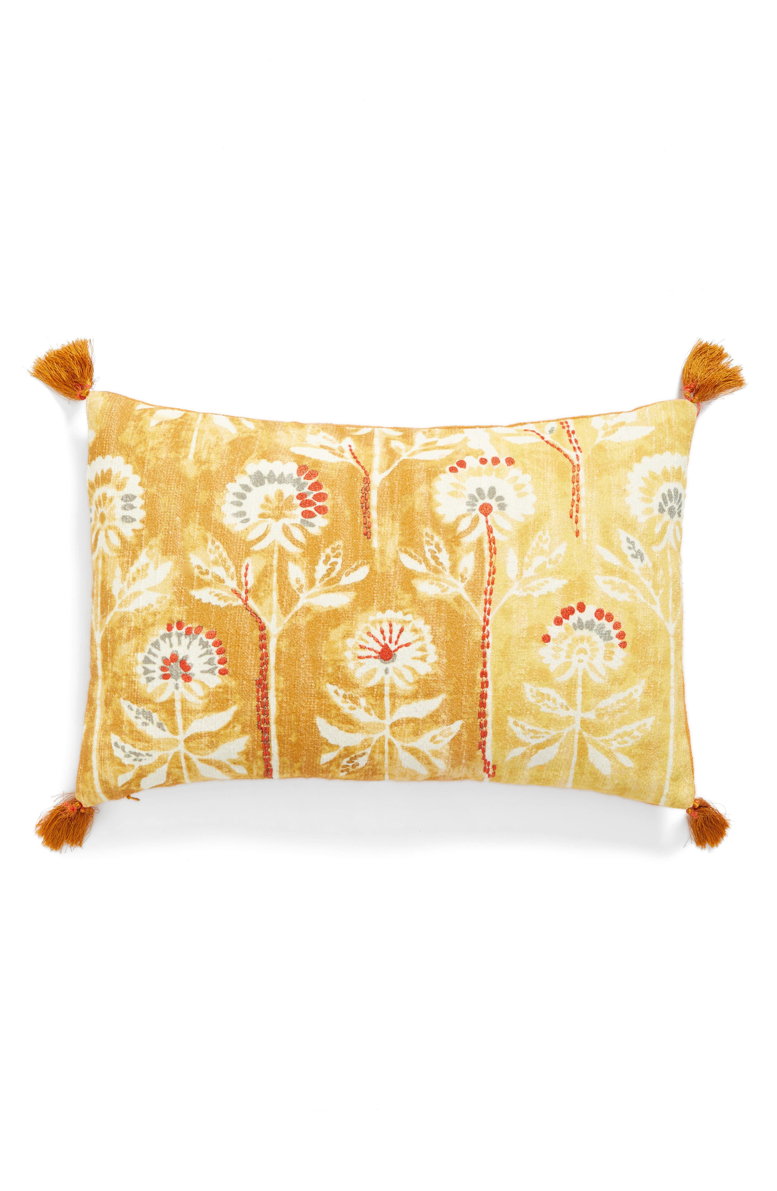 Watercolor Floral Accent Pillow,                             Main thumbnail 1, color,                             Yellow Spruce Multi