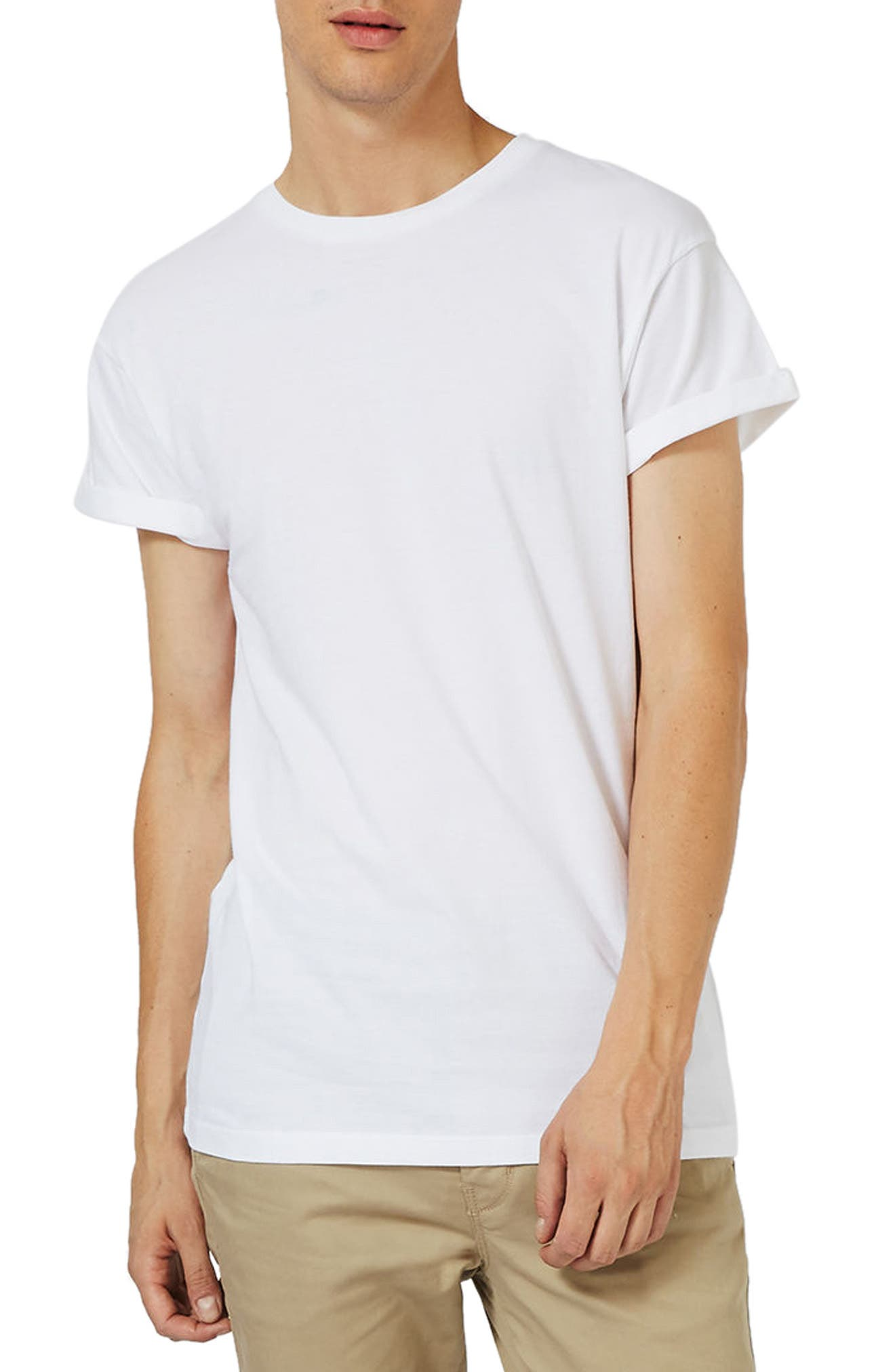 Roller Sleeve T-Shirt,                         Main,                         color, White