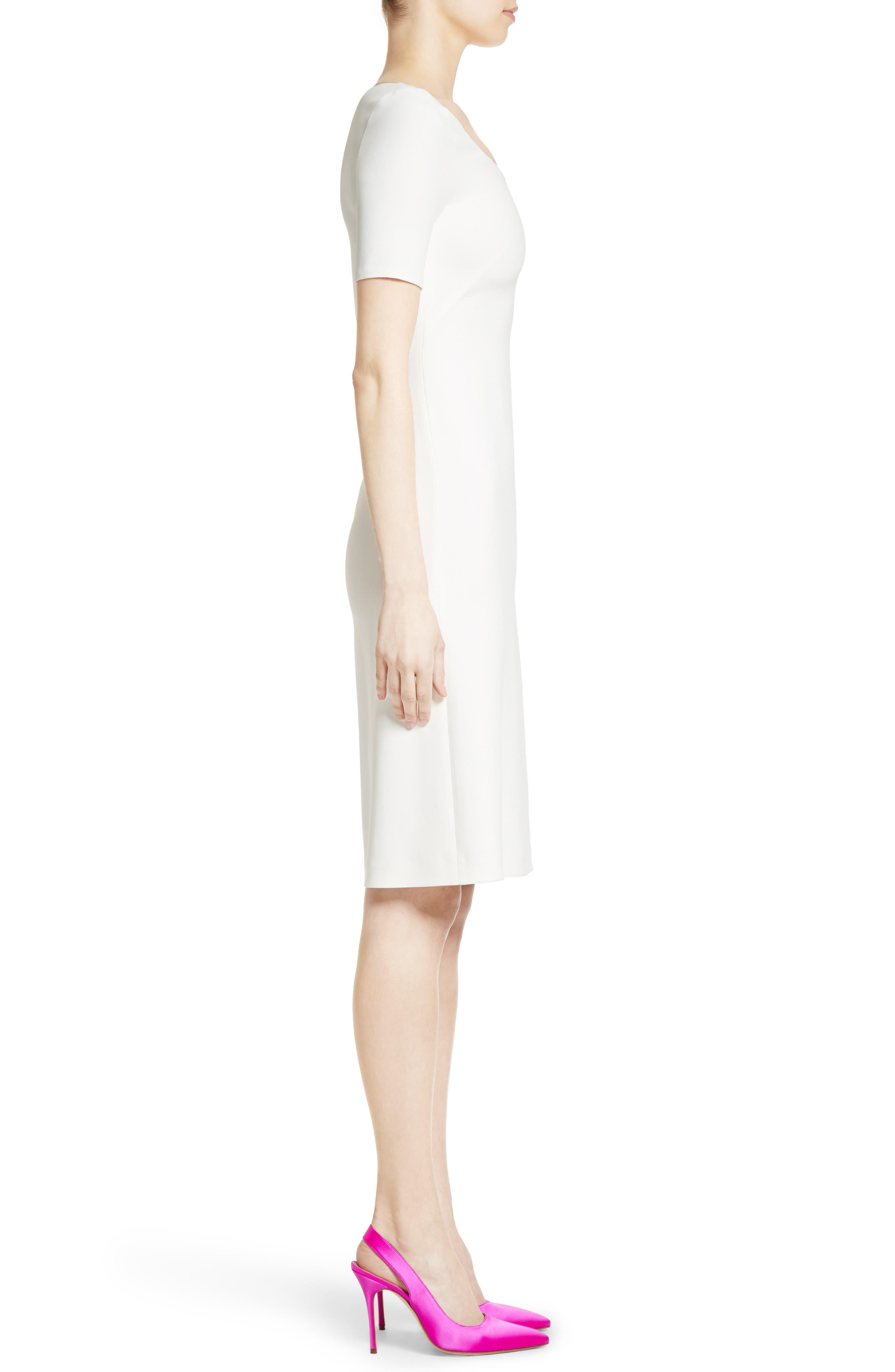 Stretch Cady Dress,                             Alternate thumbnail 5, color,                             Ivory