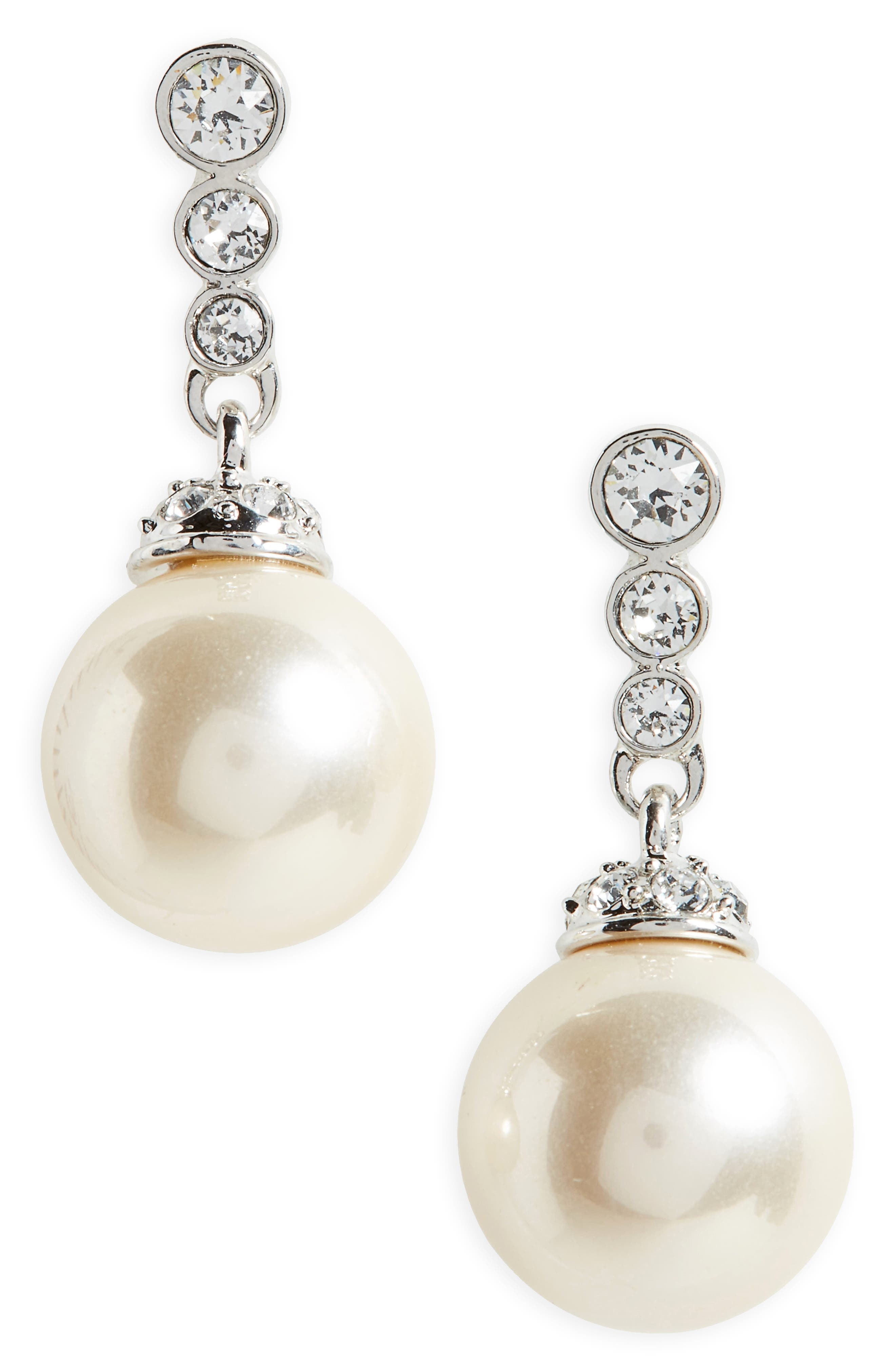 Imitation Pearl Drop Earrings,                             Main thumbnail 1, color,                             Ivory Pearl / Silver