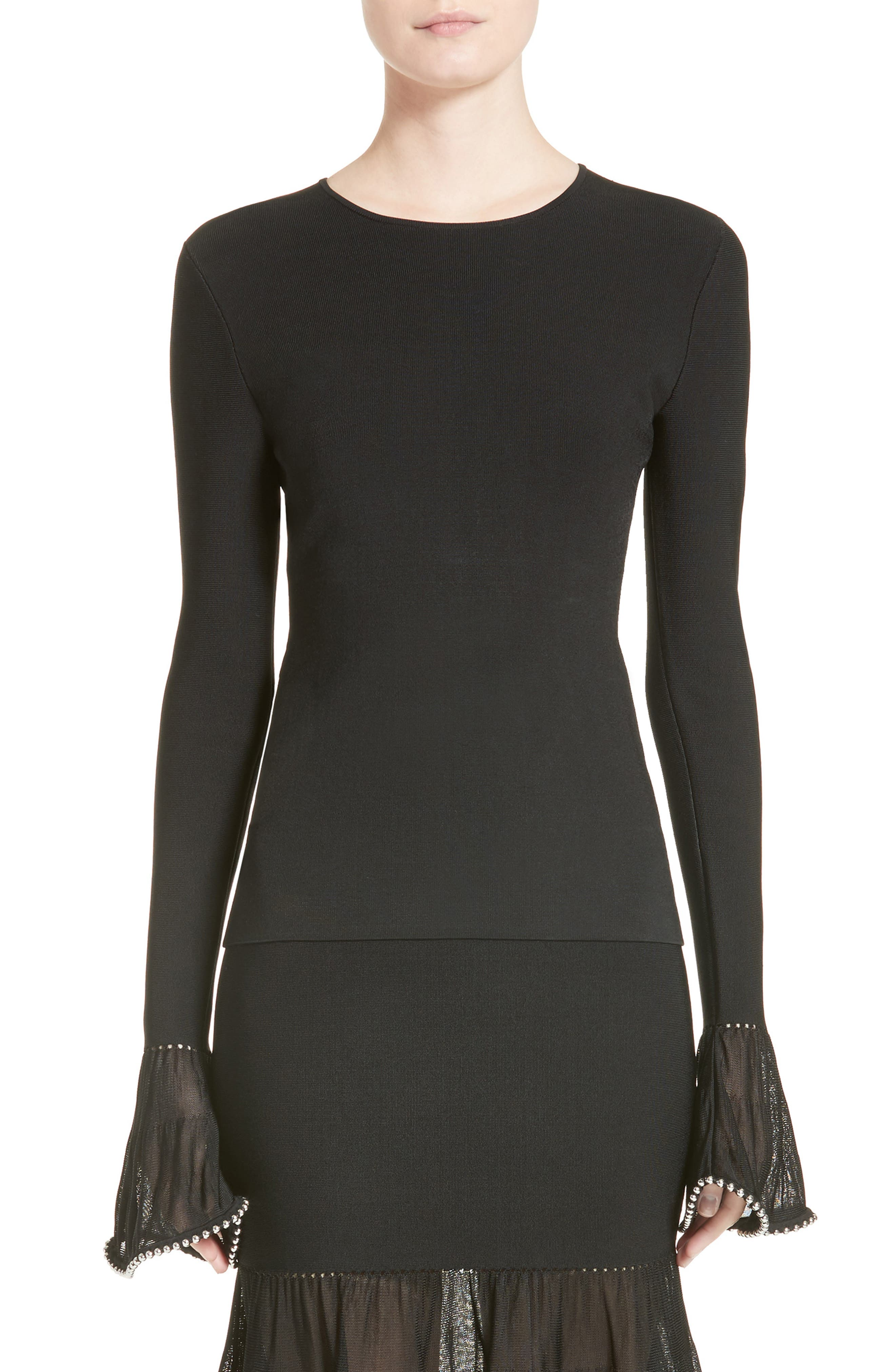 Chain Trim Bell Sleeve Top,                         Main,                         color, Onyx