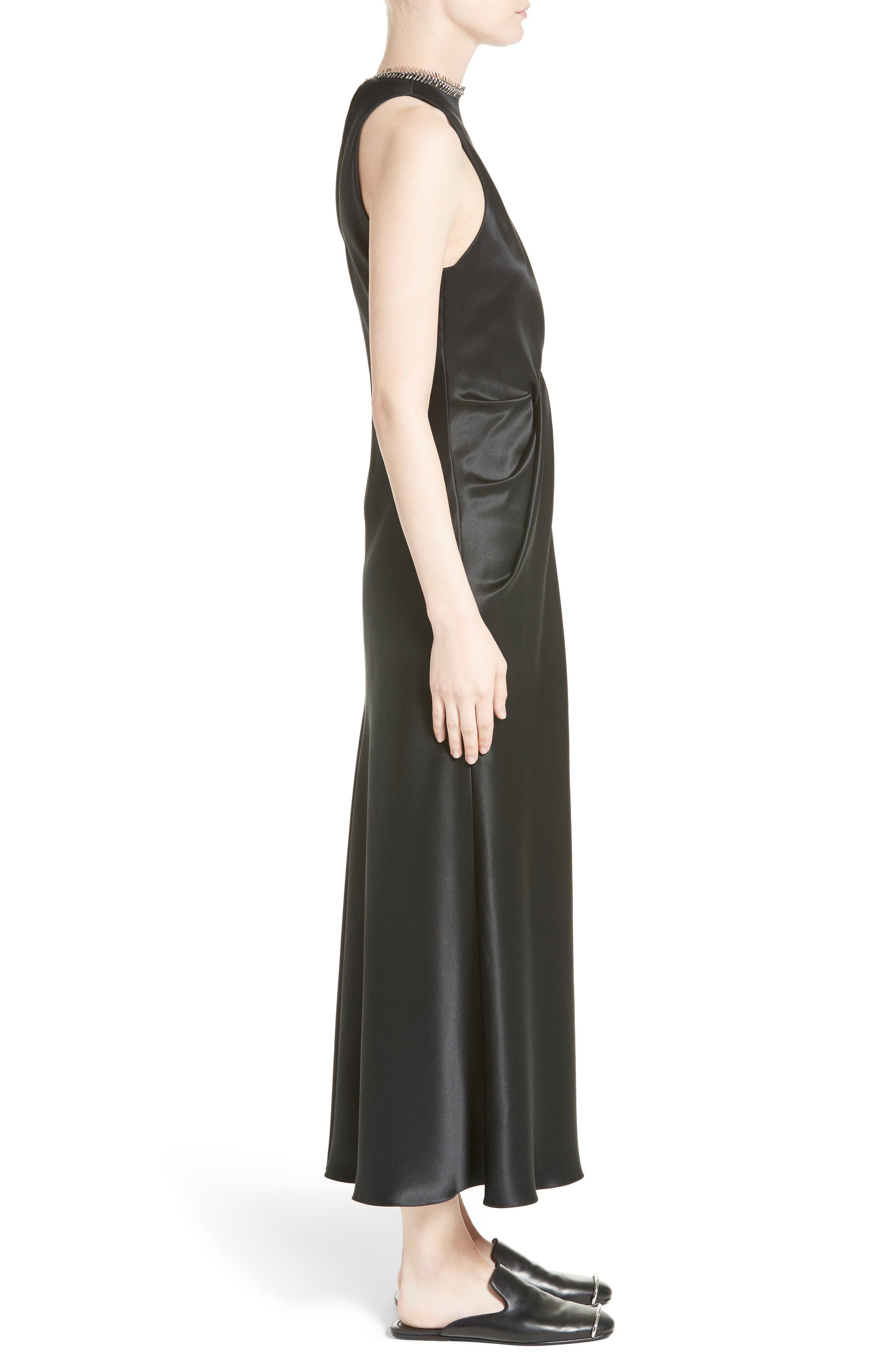 Fishbone Necklace Silk Satin Dress,                             Alternate thumbnail 5, color,                             Onyx