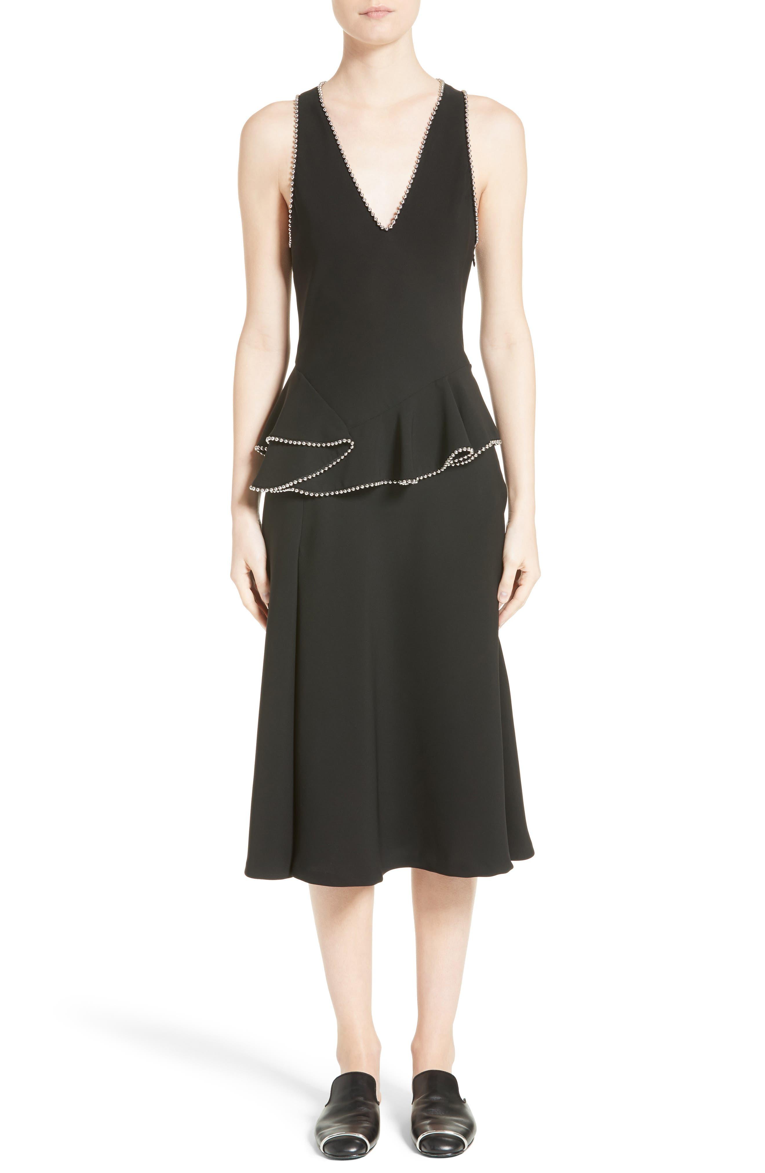 Chain Trim Silk Ruffle Dress,                             Main thumbnail 1, color,                             Onyx