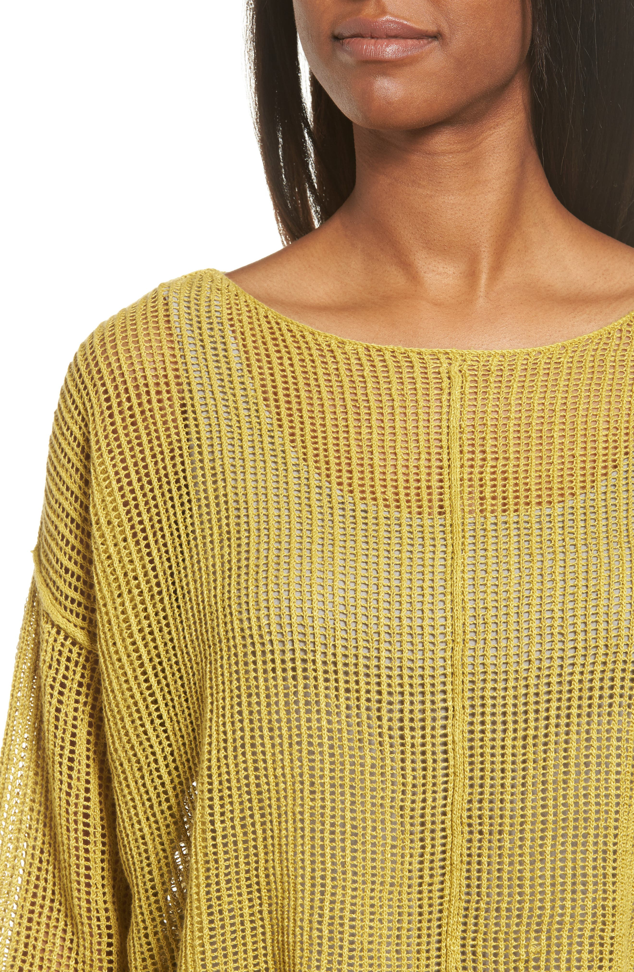 Organic Linen Crop Sweater,                             Alternate thumbnail 4, color,                             Papyrus