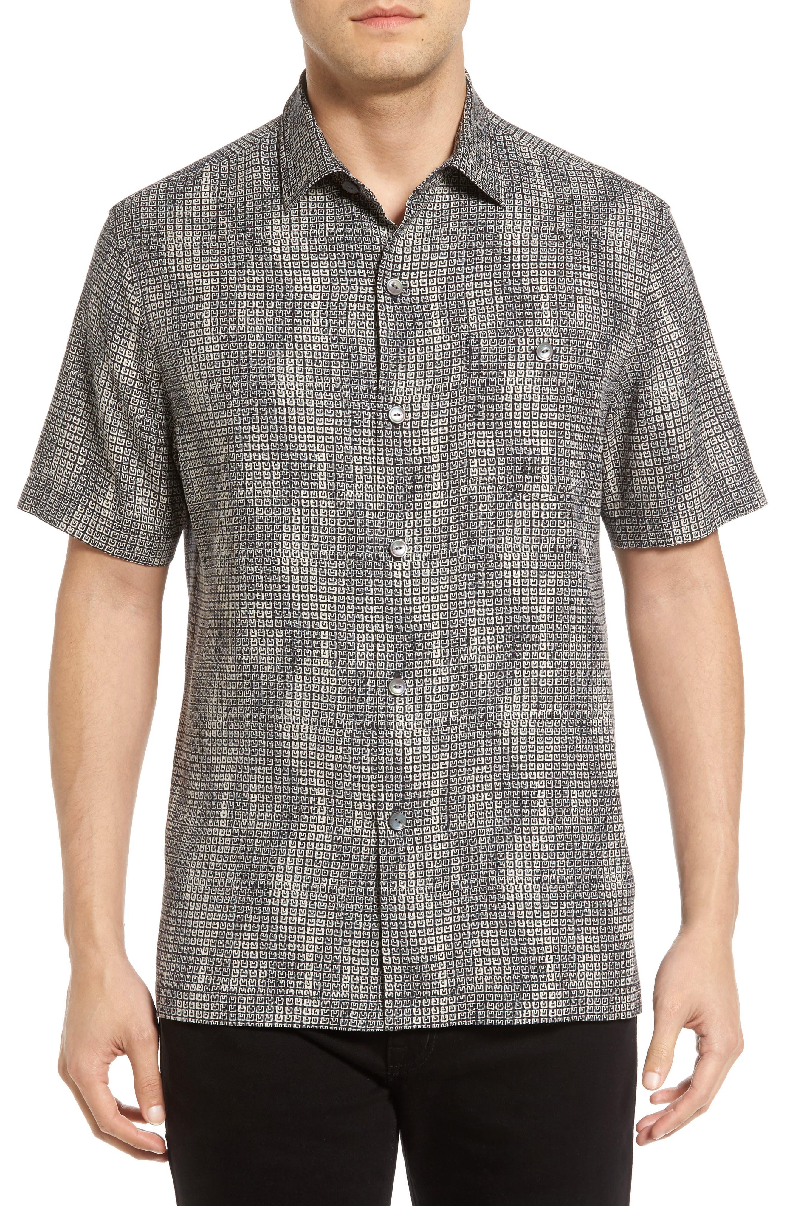 Tommy Bahama Geo Dream Standard Fit Silk Camp Shirt