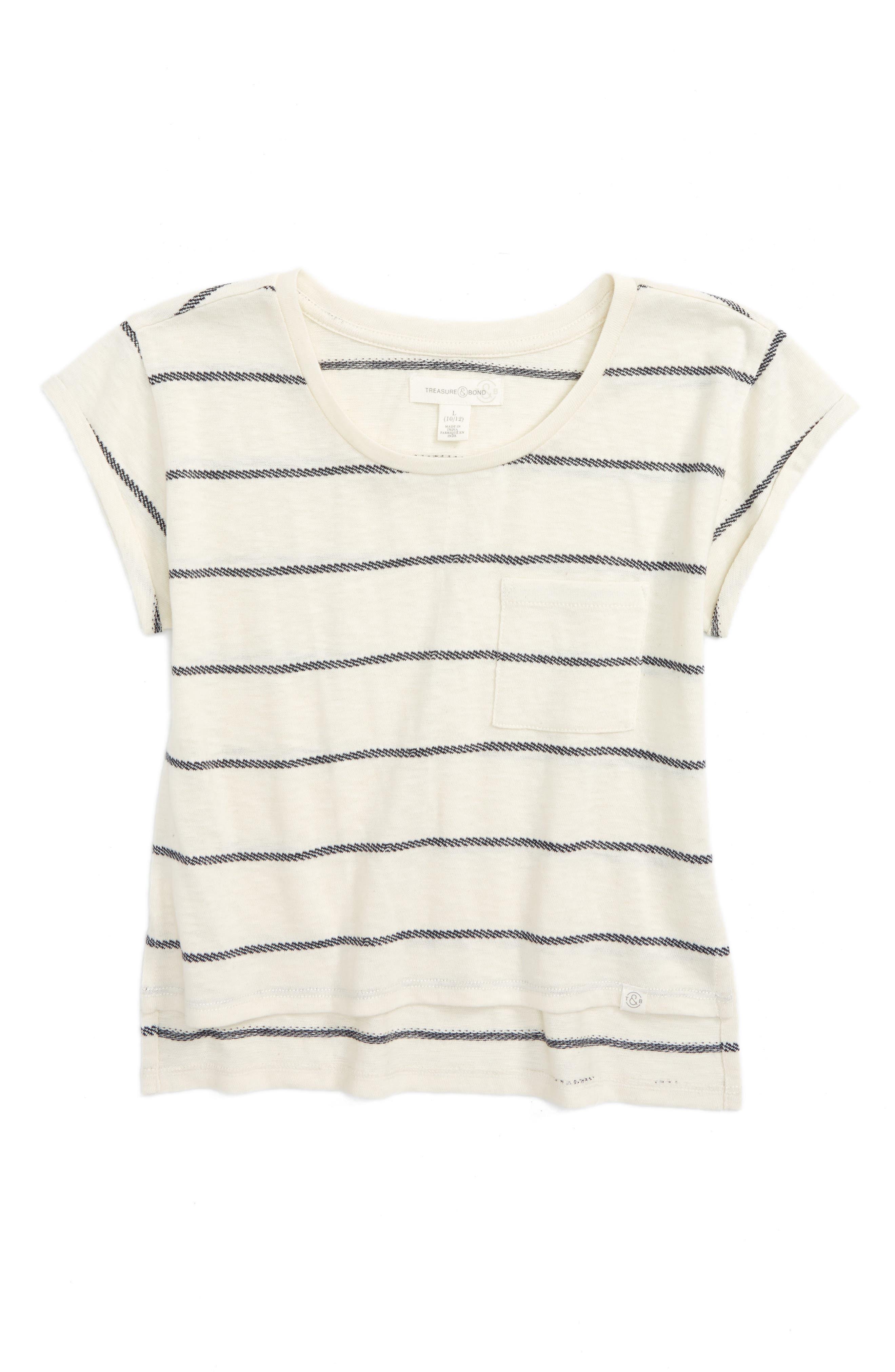 Treasure & Bond Stripe Knit Tee (Big Girls)