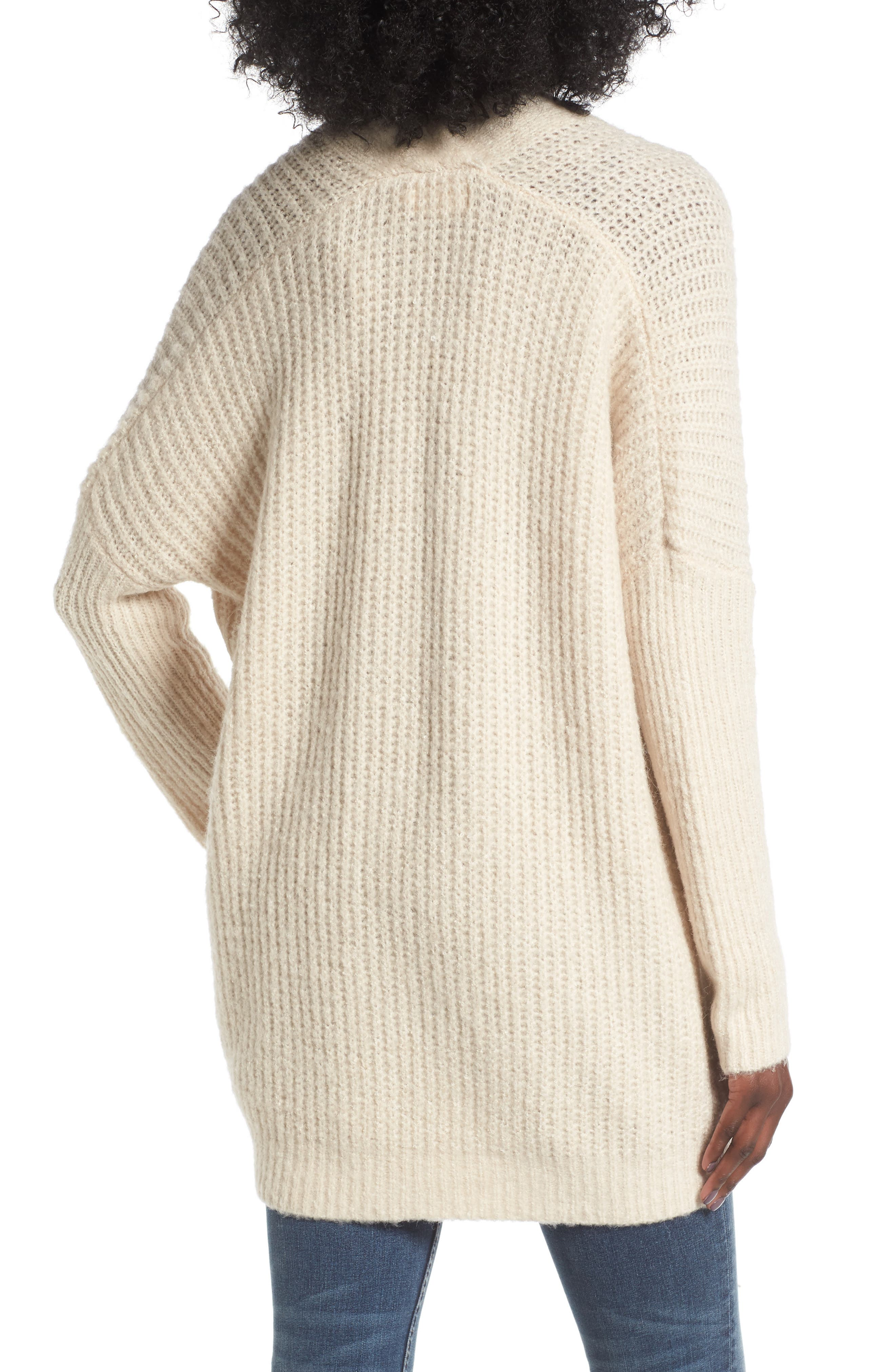 Alternate Image 2  - Dreamers by Debut Rib Knit Open Cardigan