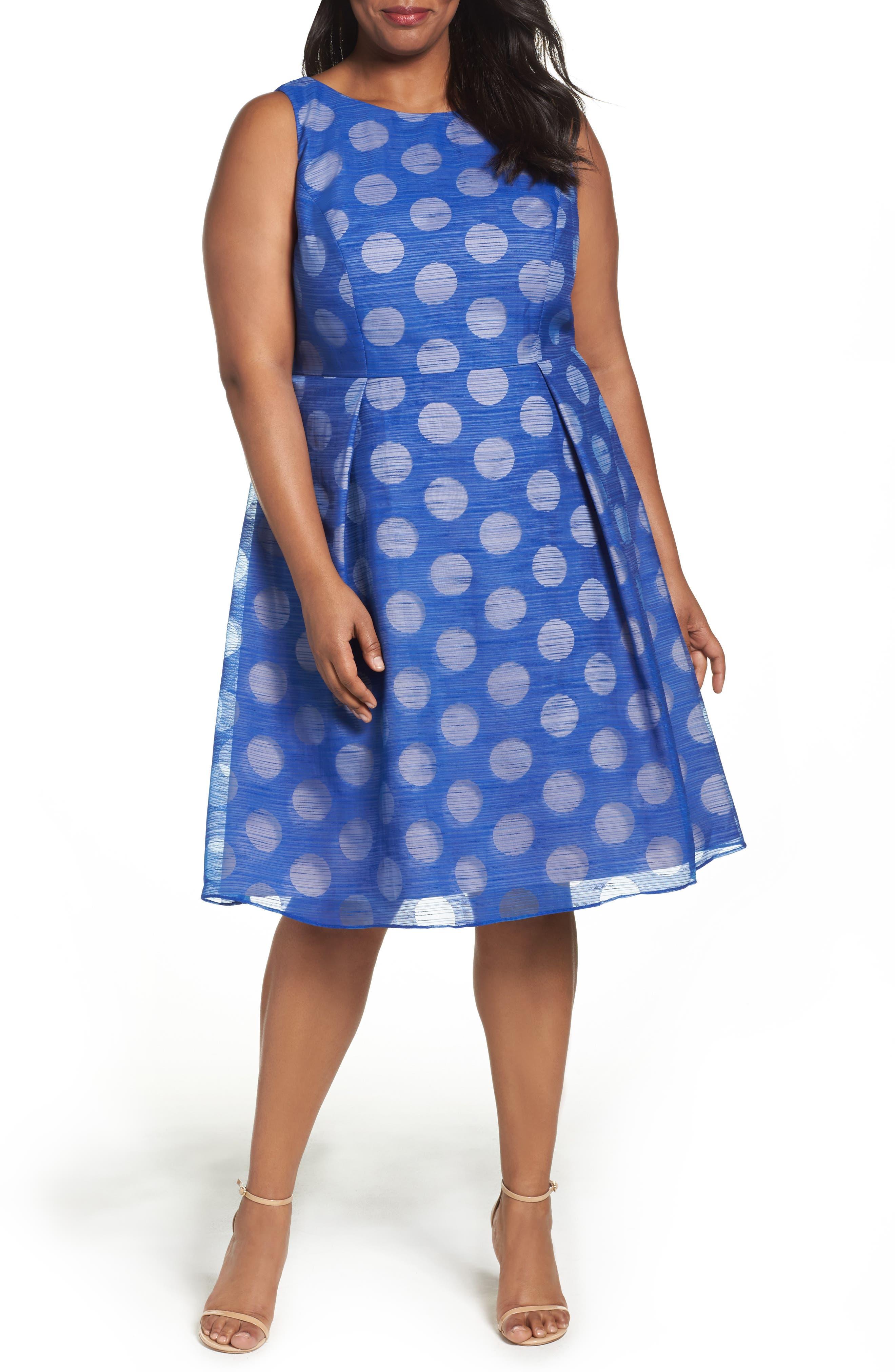Pop Dot Burnout Fit & Flare Dress,                             Main thumbnail 1, color,                             Cobalt/ Blush